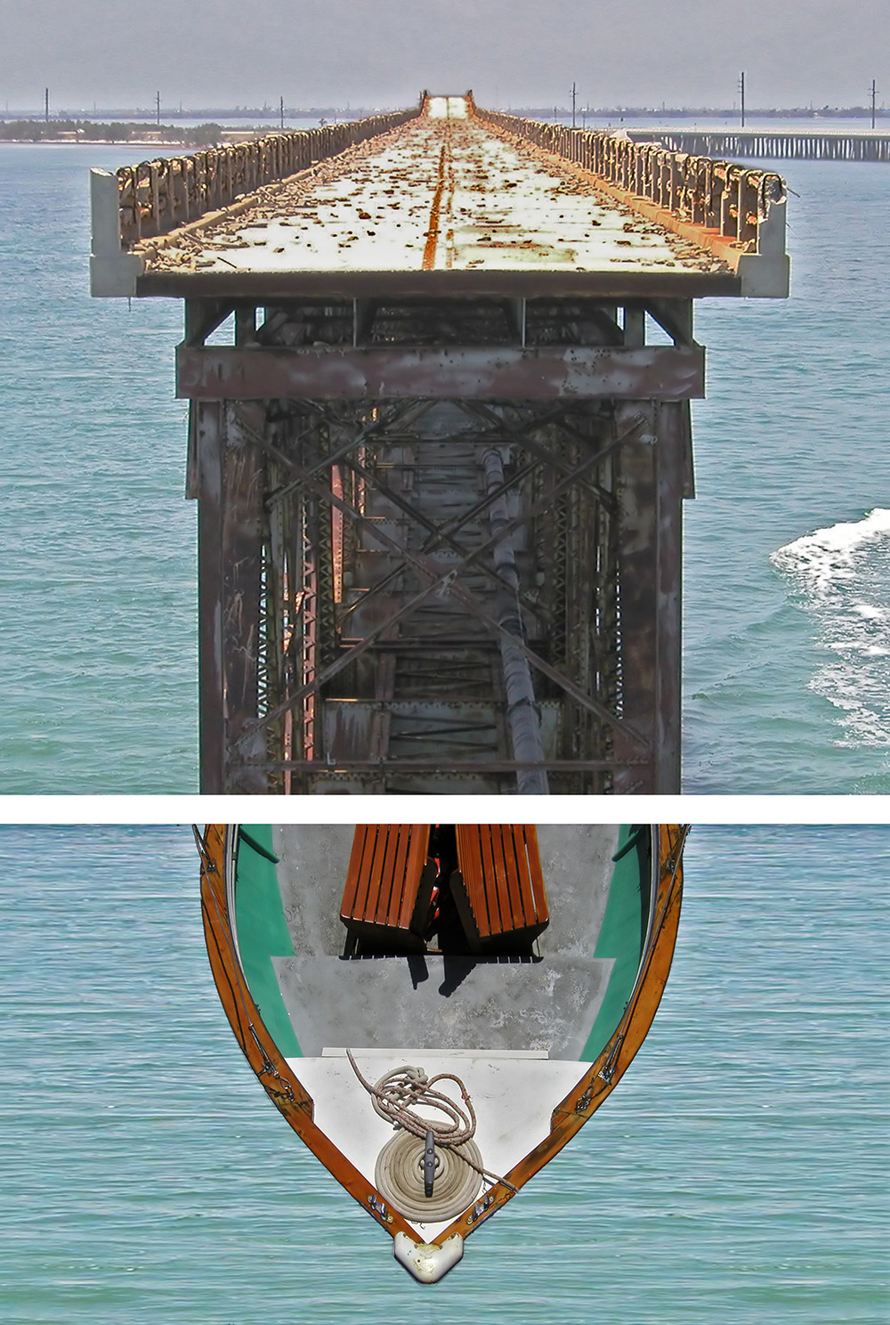 Digital diptych of two scenes with a bridge flowing into a boat.