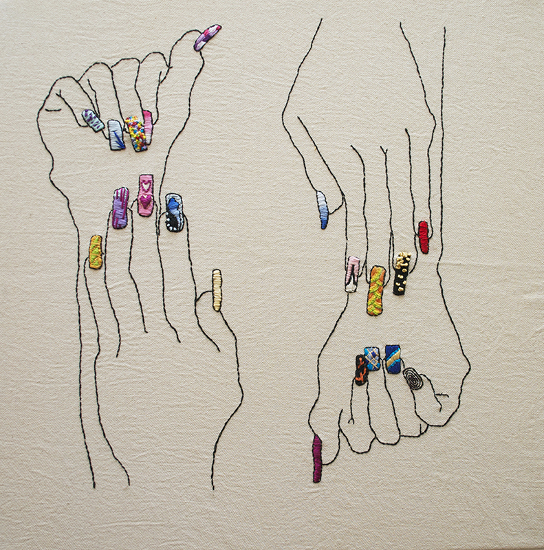 embroidery, floss, color, Sarah Magida, manicure art, manicure, hands