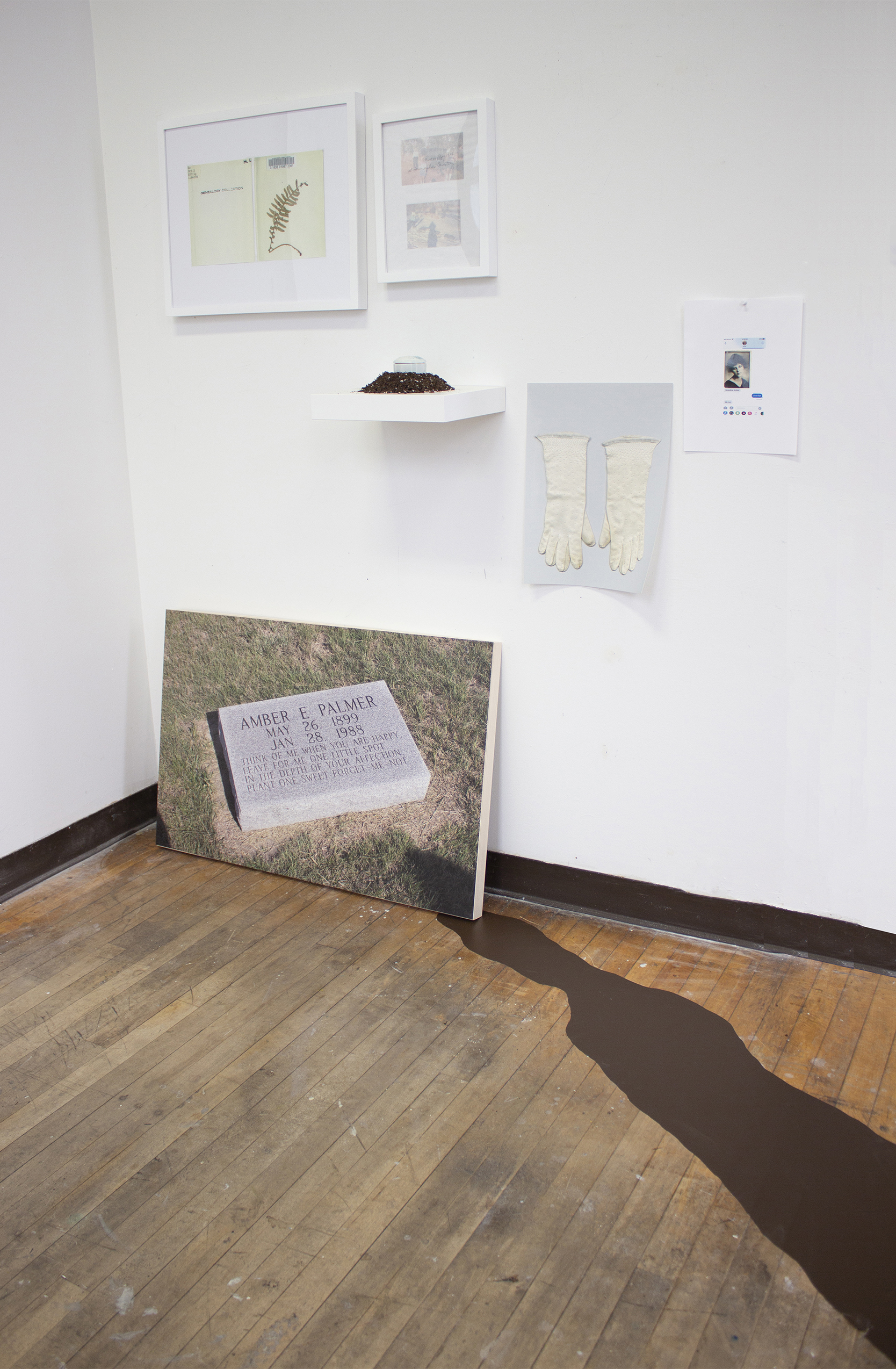 Installation of digital photographs and found objects
