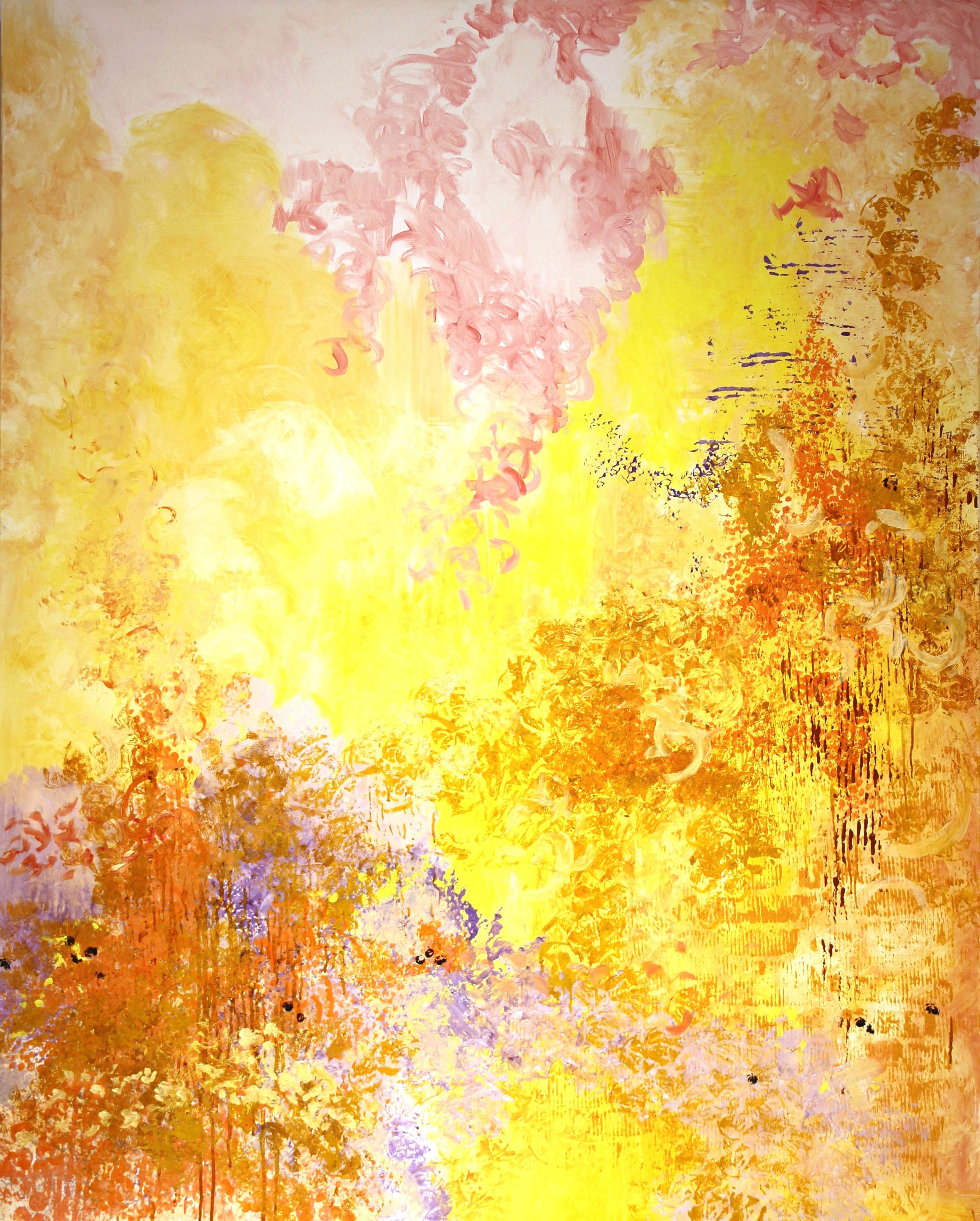 Large painting with yellow, peach, lavender, and pink