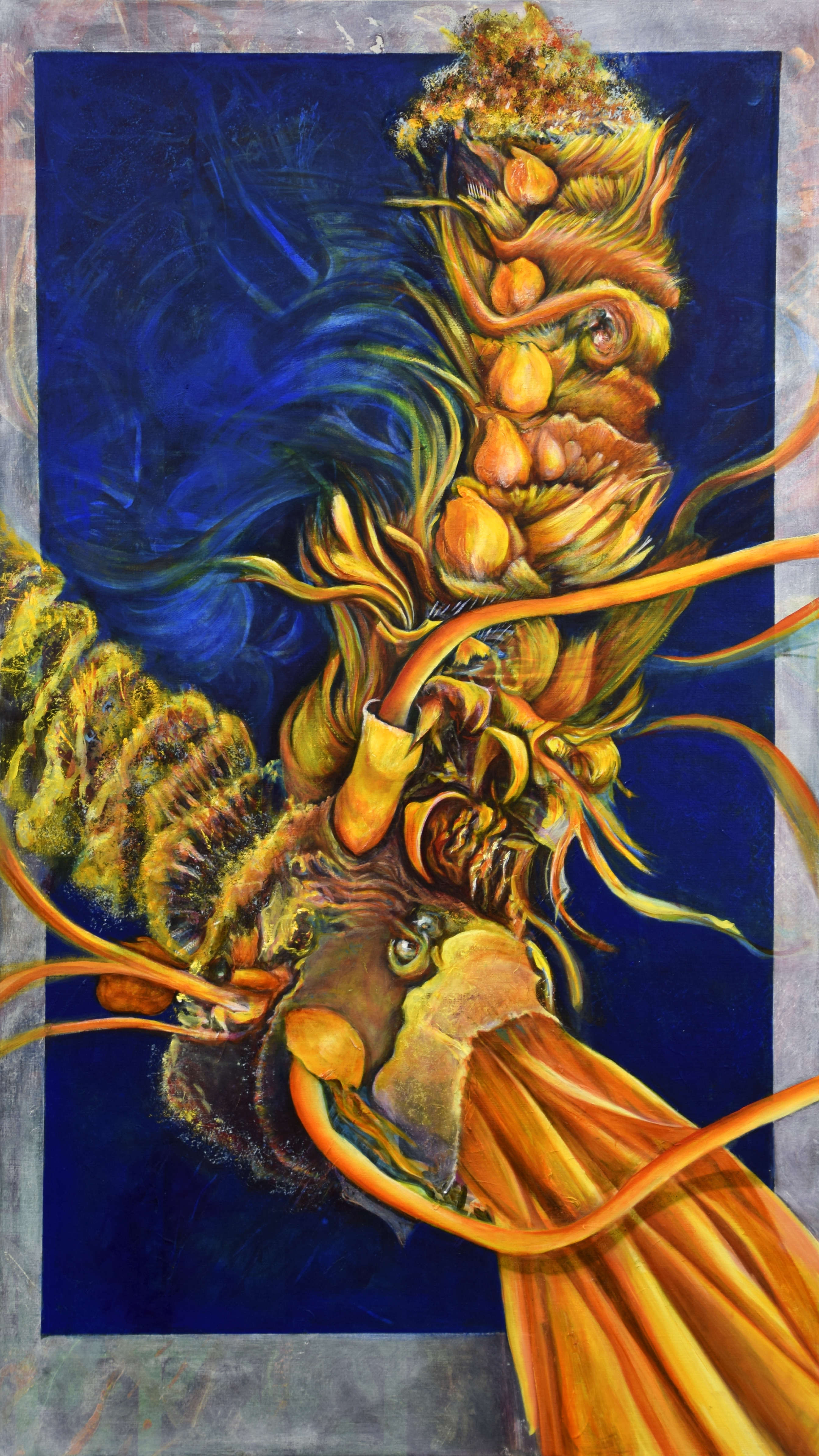 oil painting, unraveling, sea oat, dance of decay, endangered