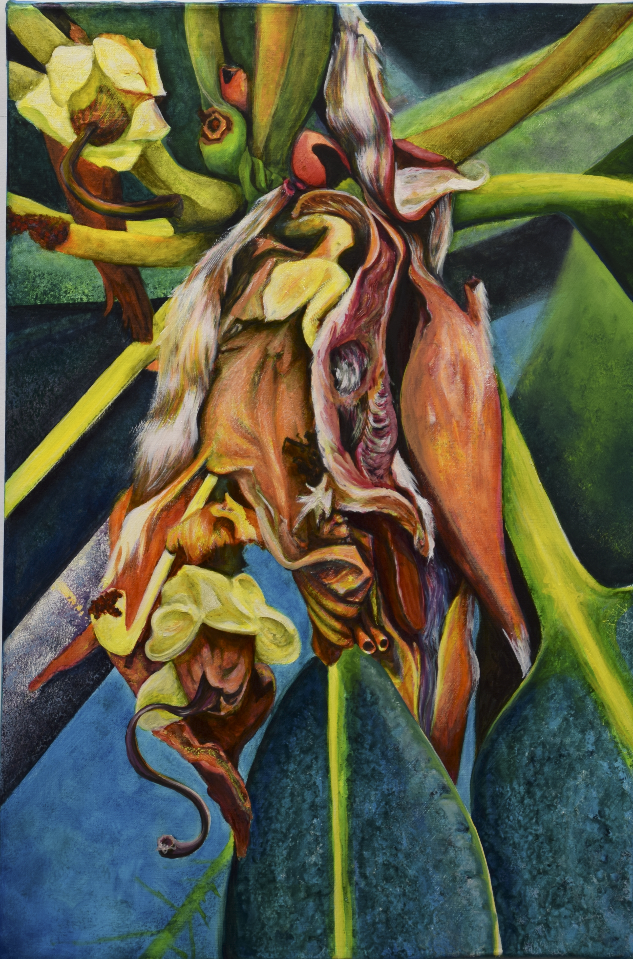 oil painting, dance of decay, endangered, regeneration, resiliency, nature pattern