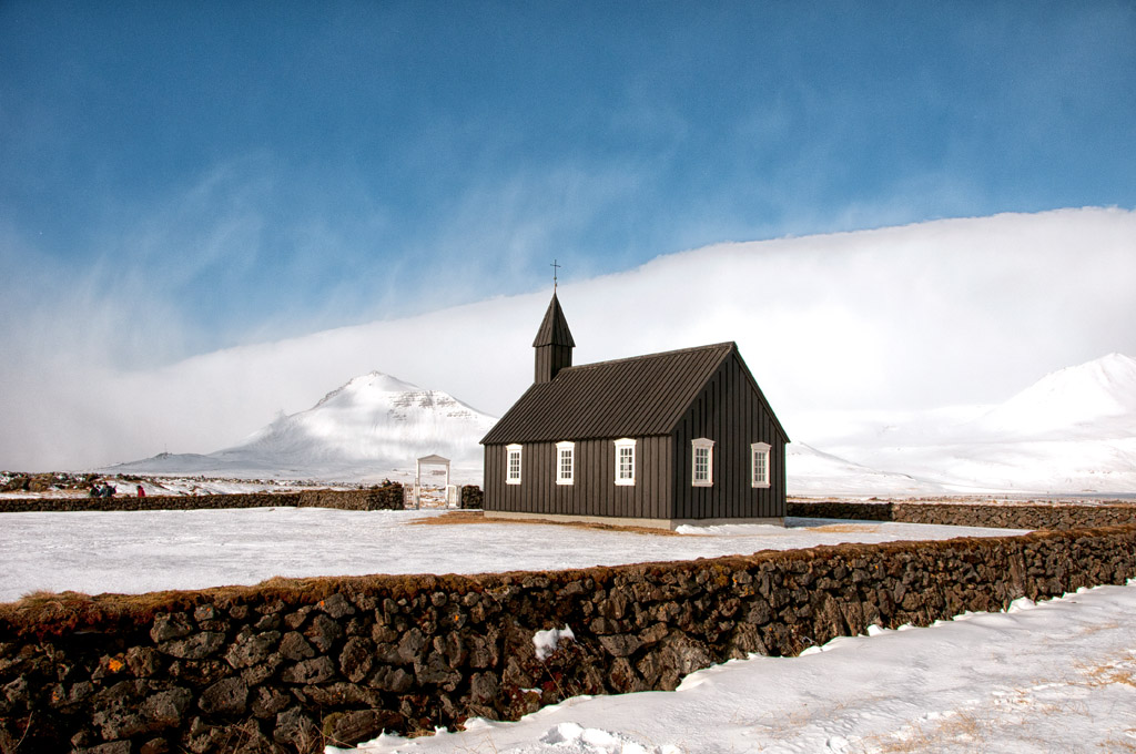 Black Church in Snow