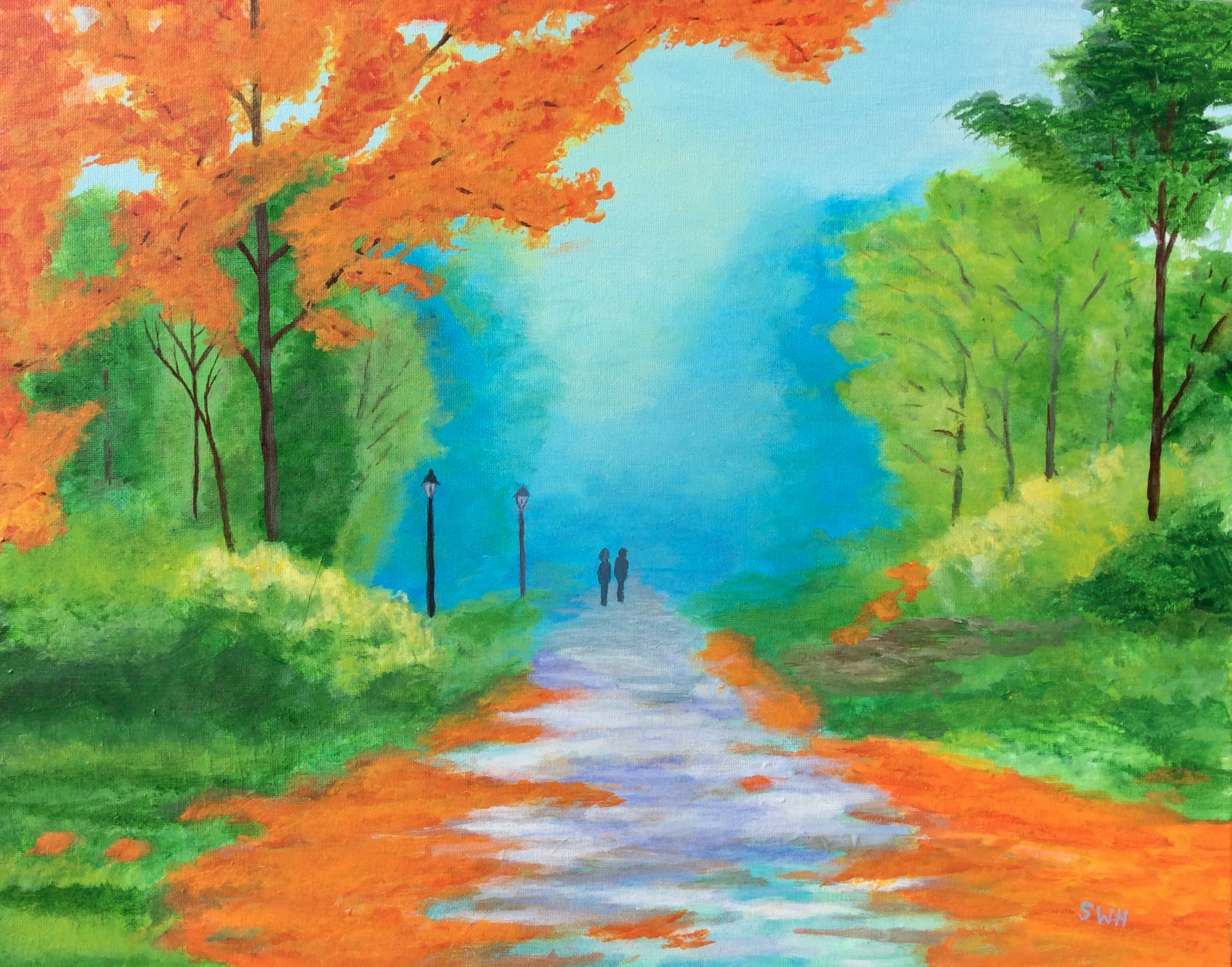 Couple strolling on a path