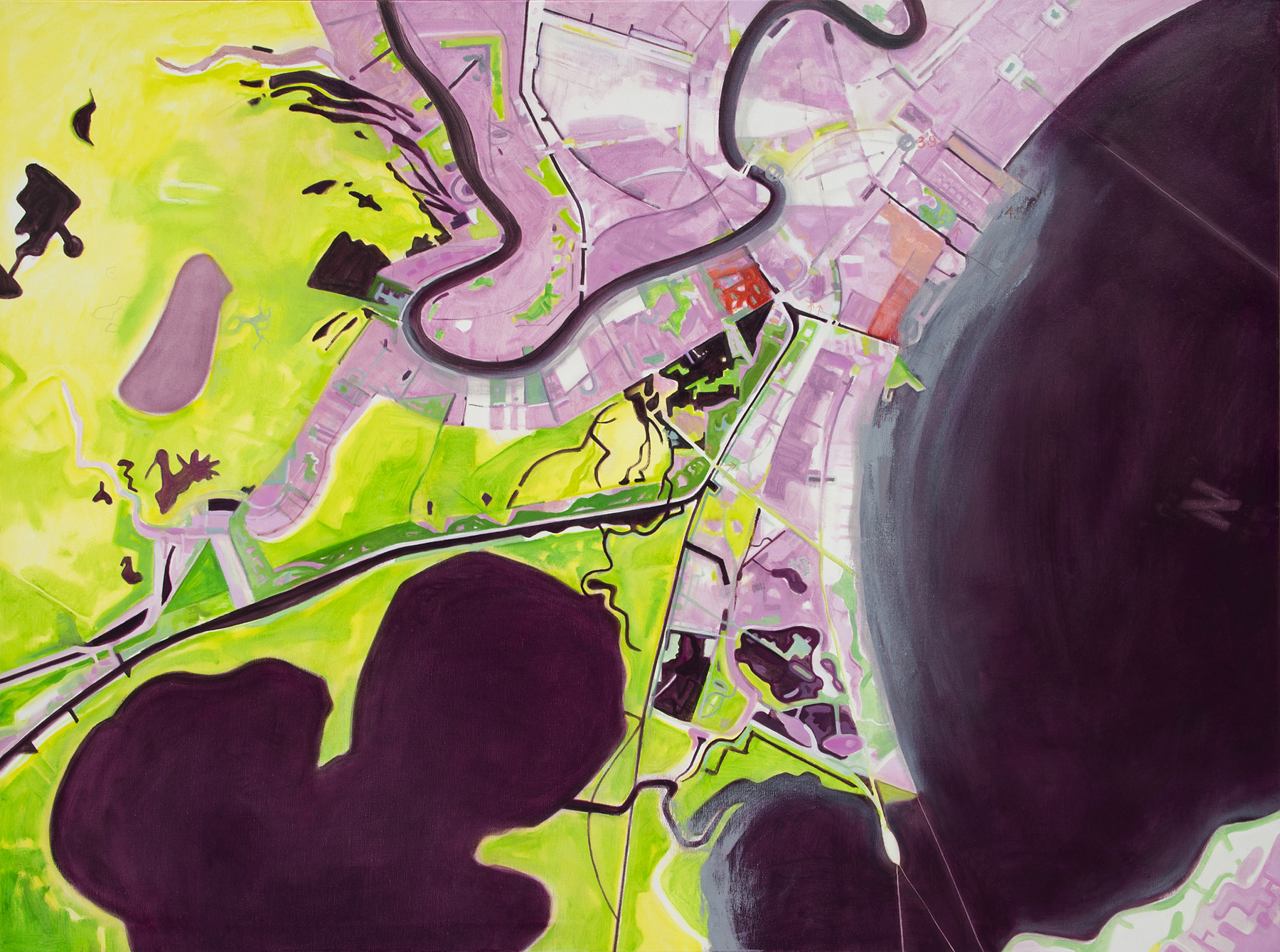 aerial painting in yellow-greens, lavendar and purples about New Orleans after hurricane Katrina