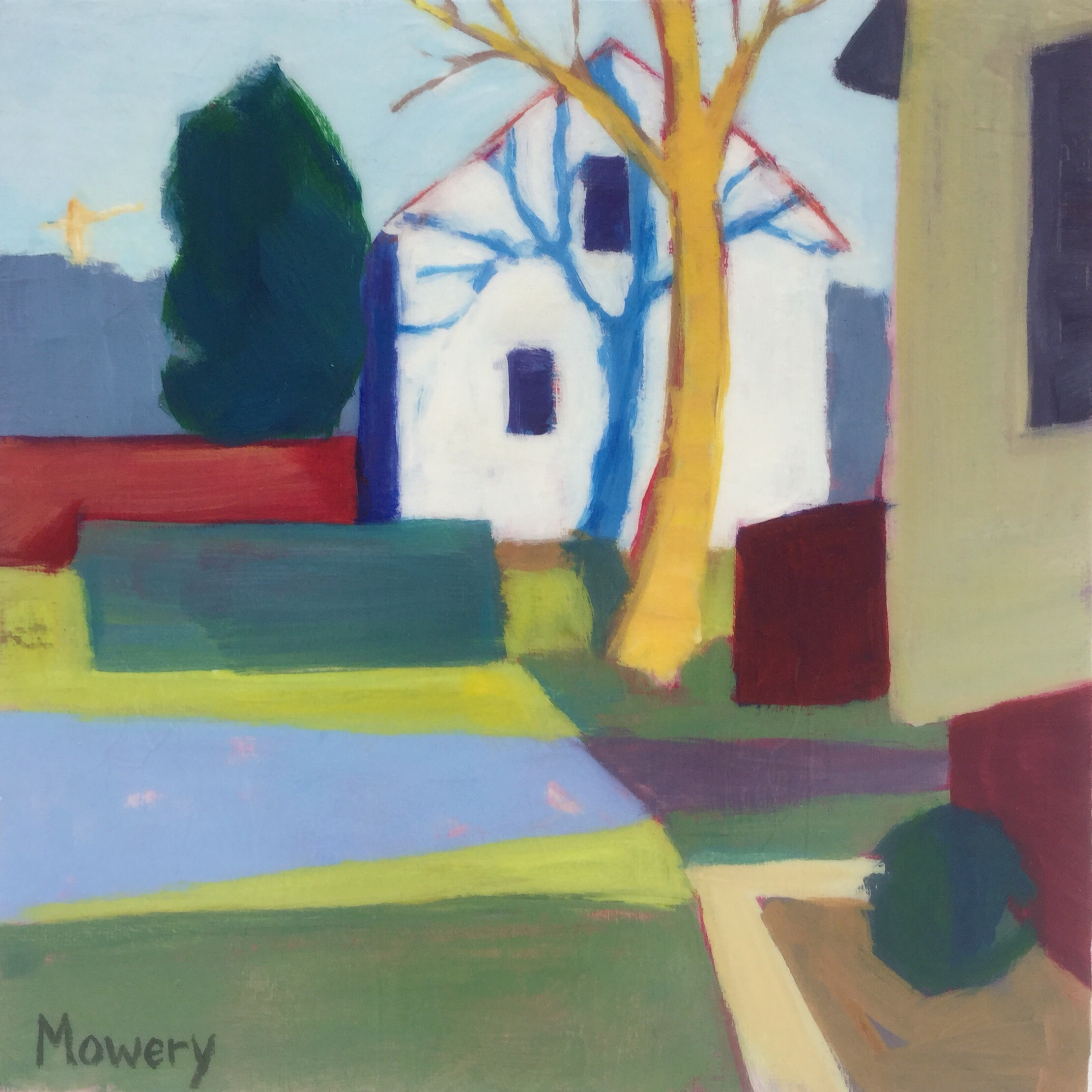 This is an acrylic painting of tree shadows on the side of a suburban house with a crane in the distance by artist Barb Mowery.