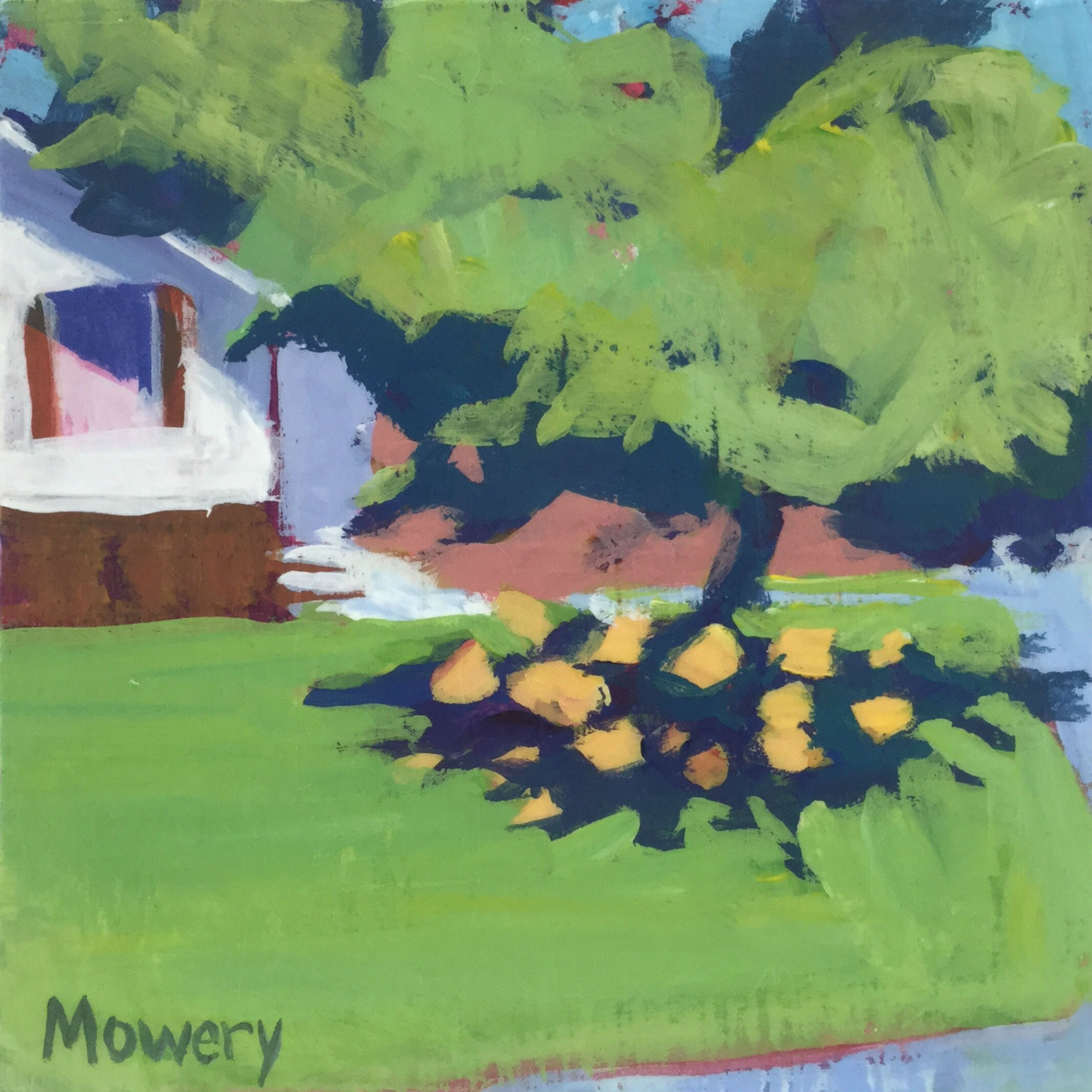 This is an acrylic painting of a flower bed full of day lilies under a cherry tree by artist Barb Mowery.