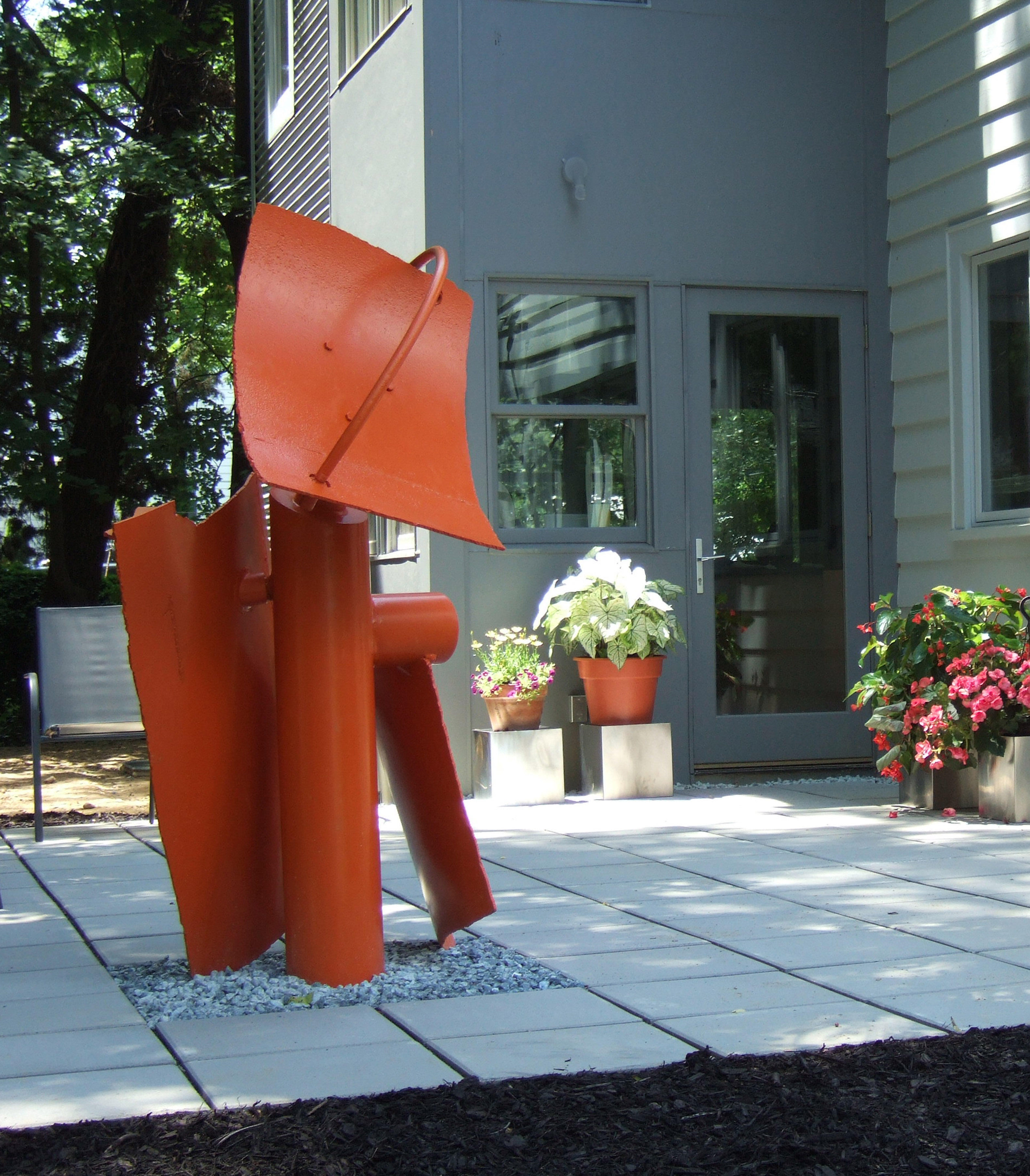 Abstract steel sculpture orange painted Finish