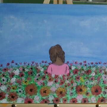flowerbed, little girl art, flower art