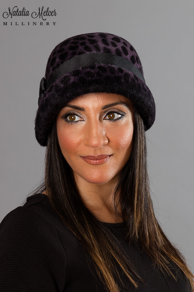 Purple Leopard Print Cloche by Natalia Melcer