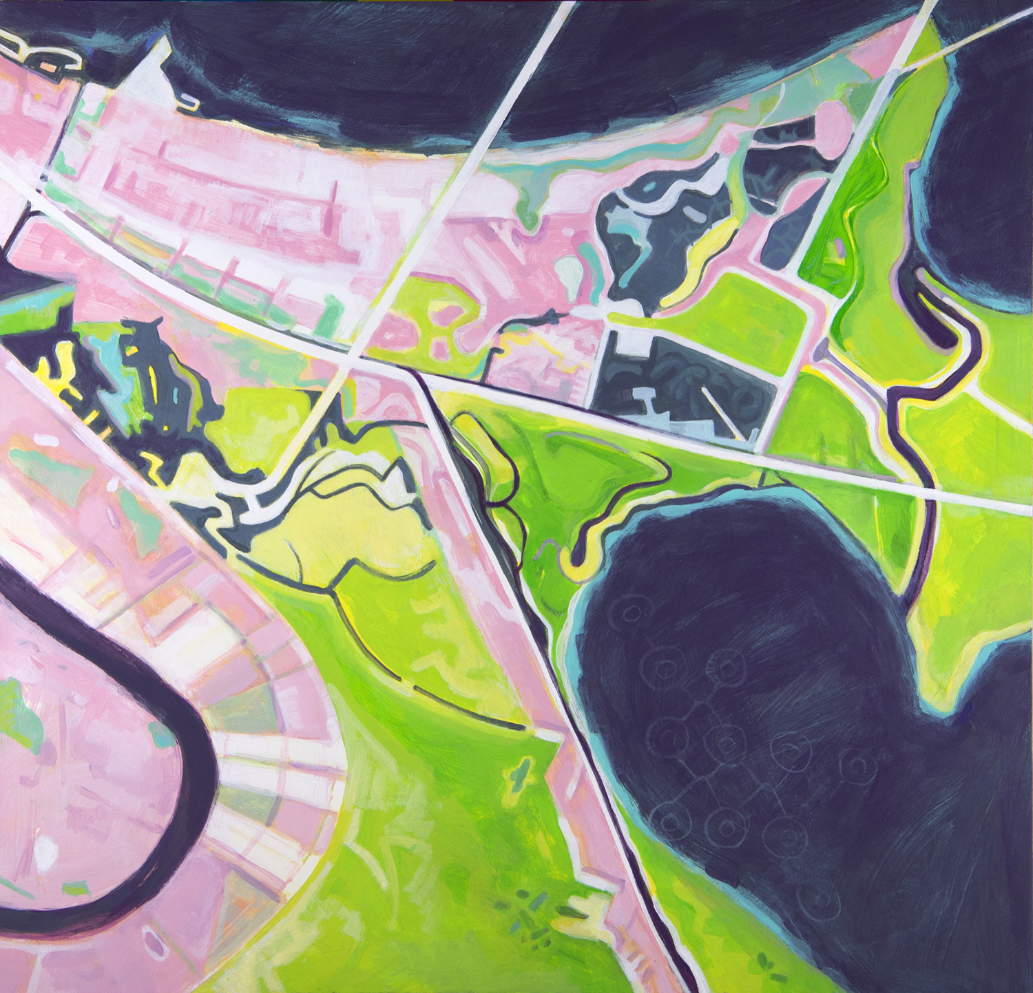 painting of new orleans satellite view, after hurricane katrina