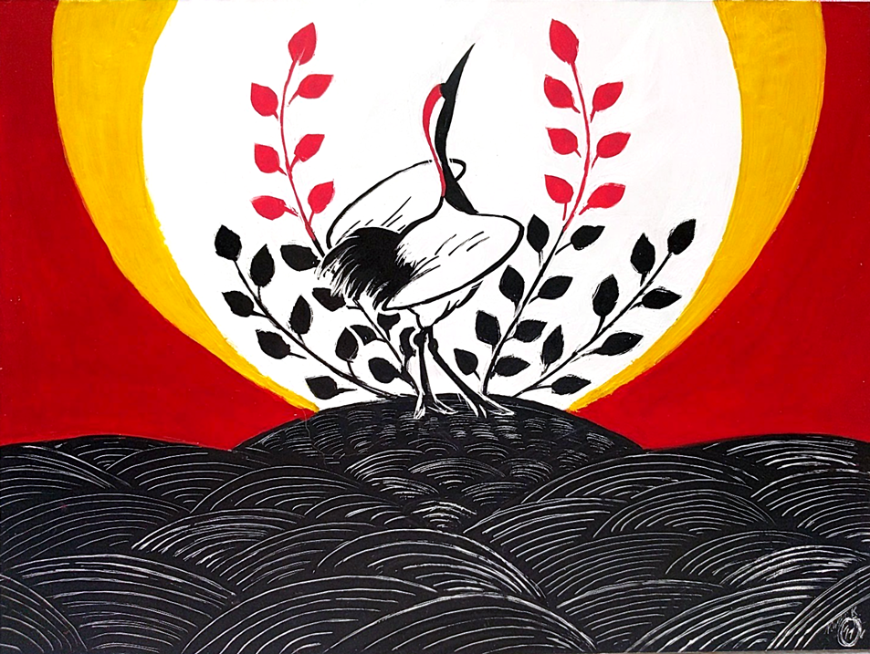 A painting of a crane in the style of Japanese Hanafuda cards.
