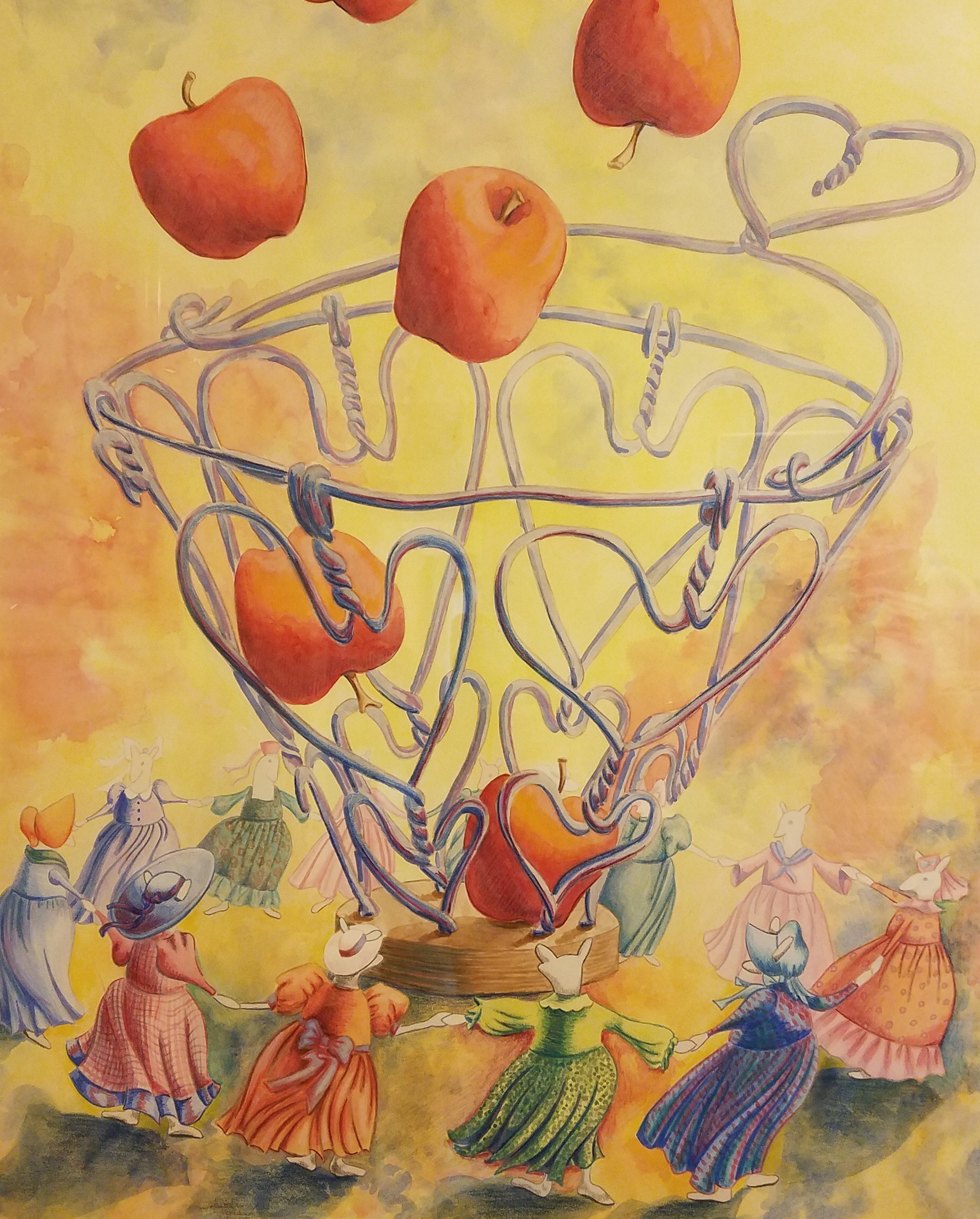 Mice dancing around a basket of apples