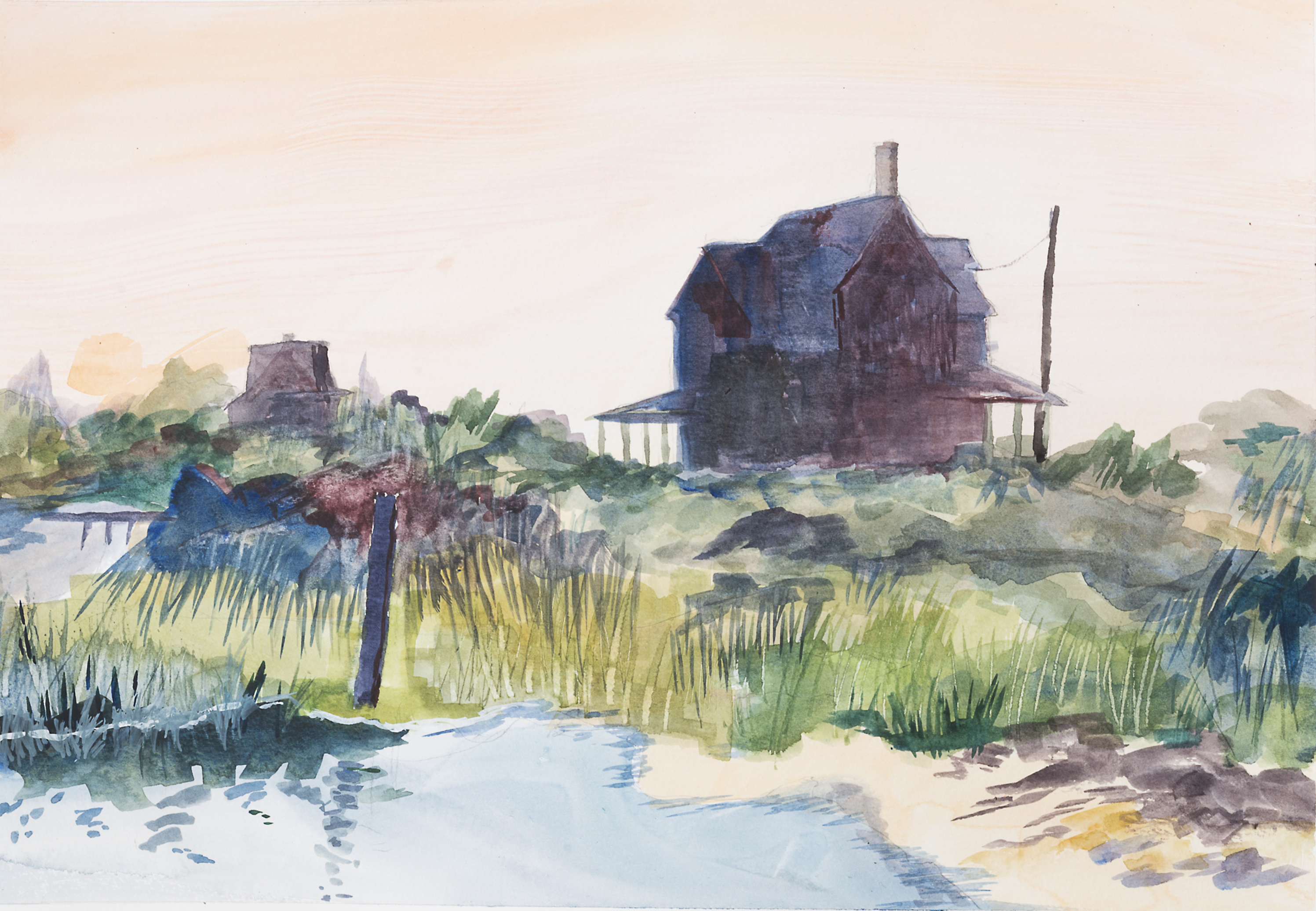 House at the Shore watercolor painting