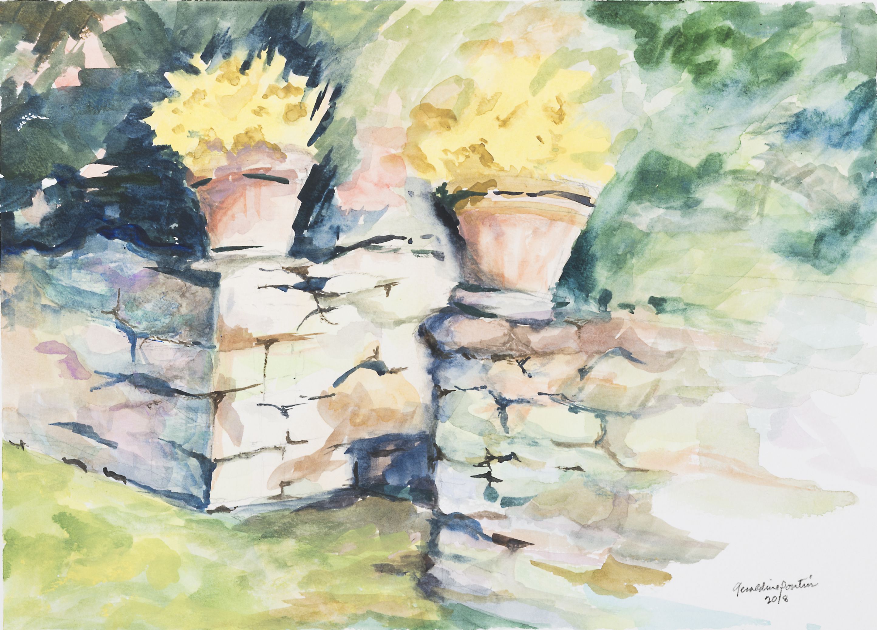 Steps to Halcyon watercolor paining