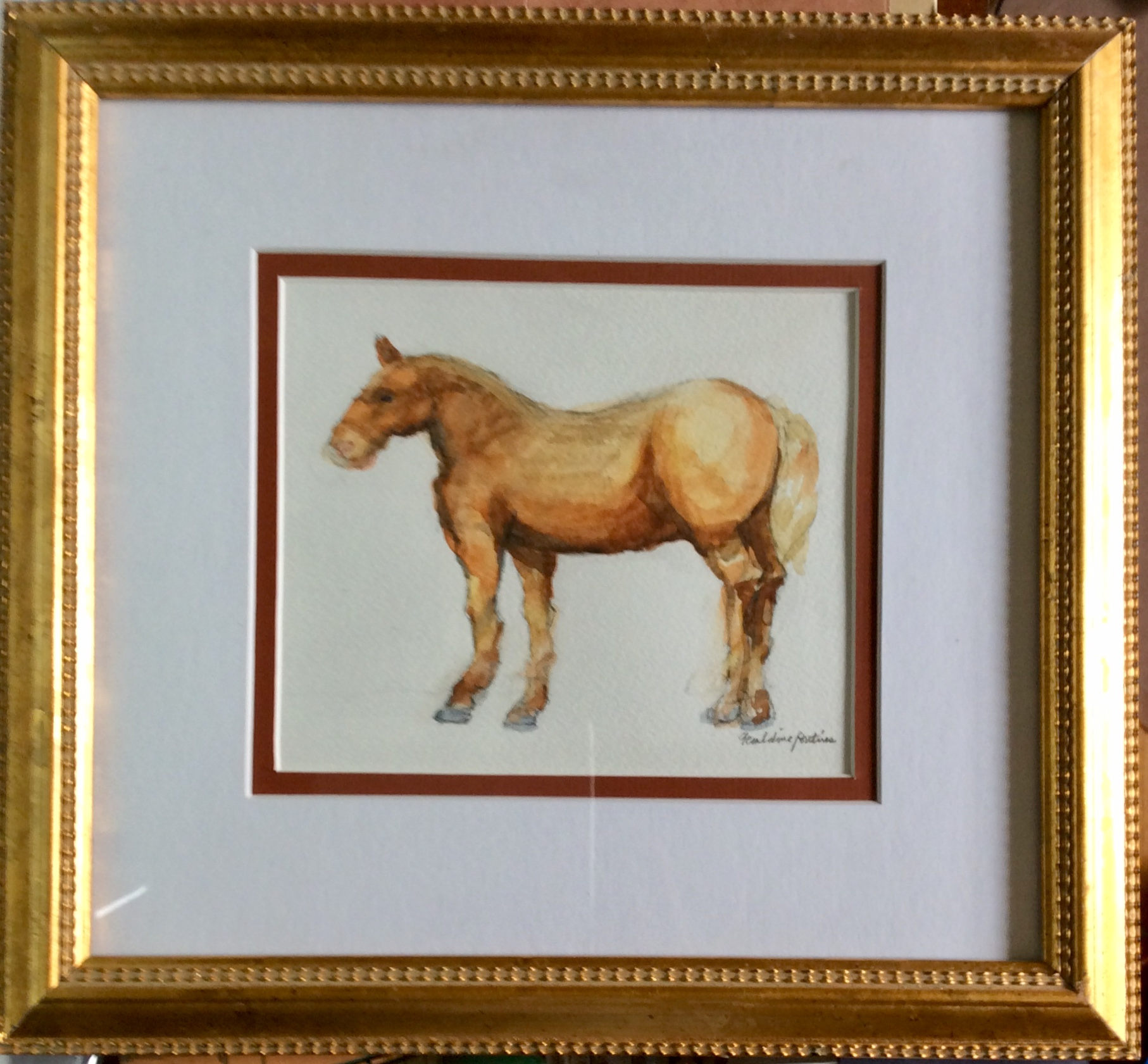 Study of a Horse, framed watercolor