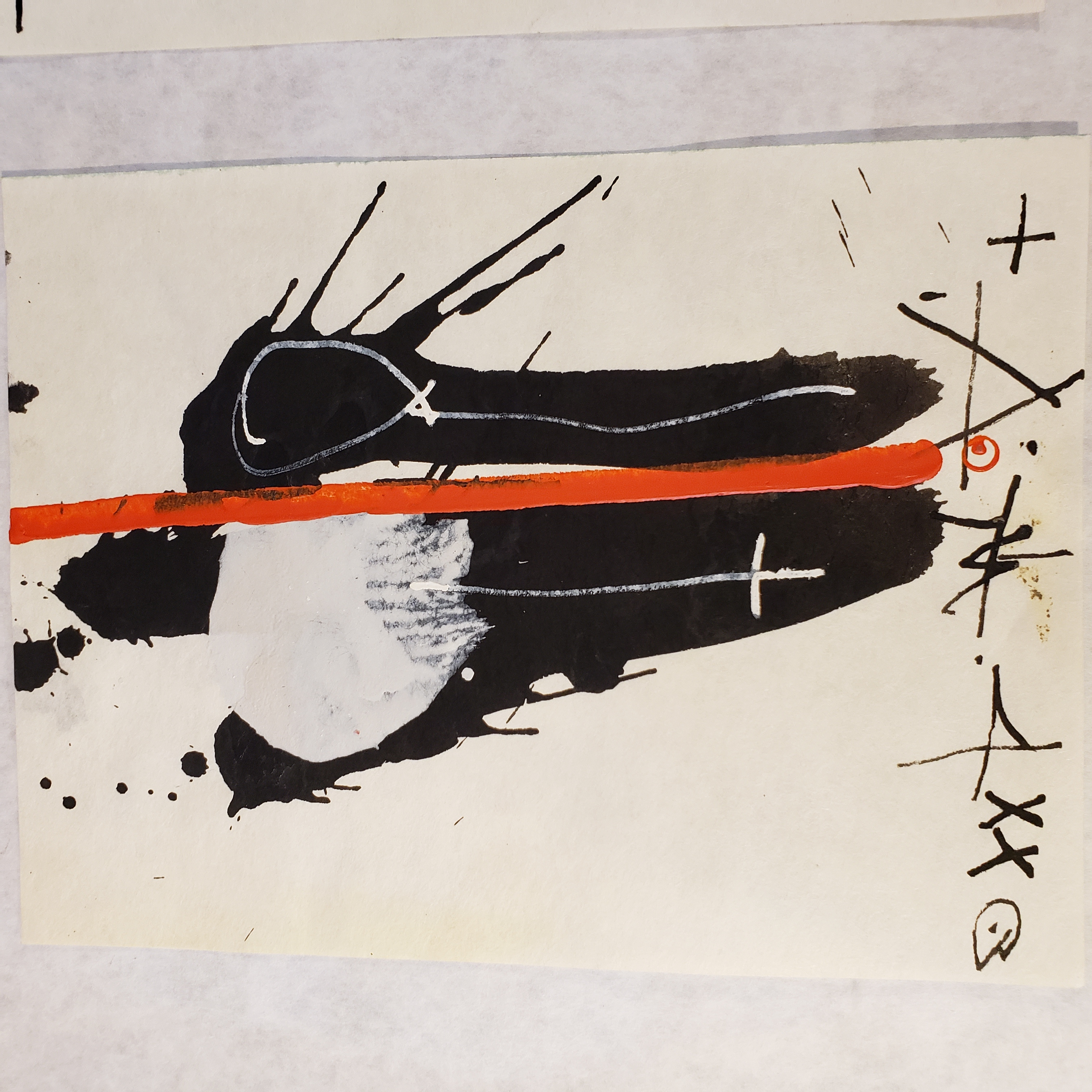 Ink and acrylic on paper from Kabuki series