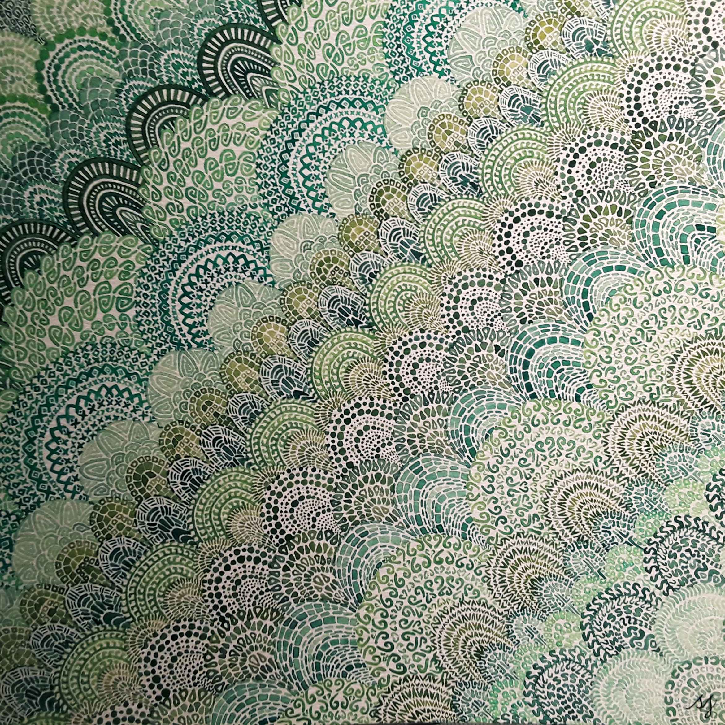 Green lace watercolor painting