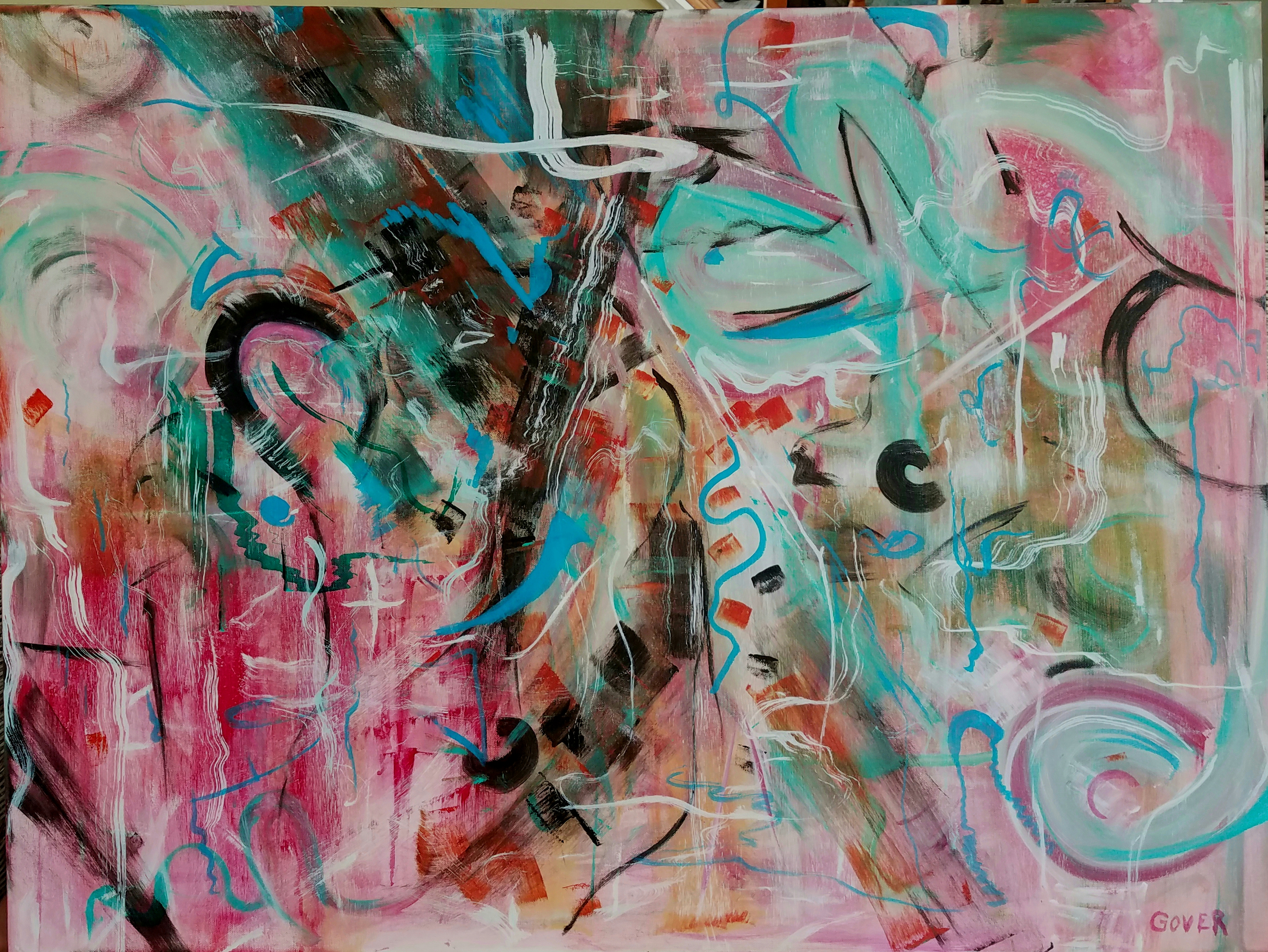 "40"" x 30"" abstract /non objective acrylic and mixed media on stretched canvas."
