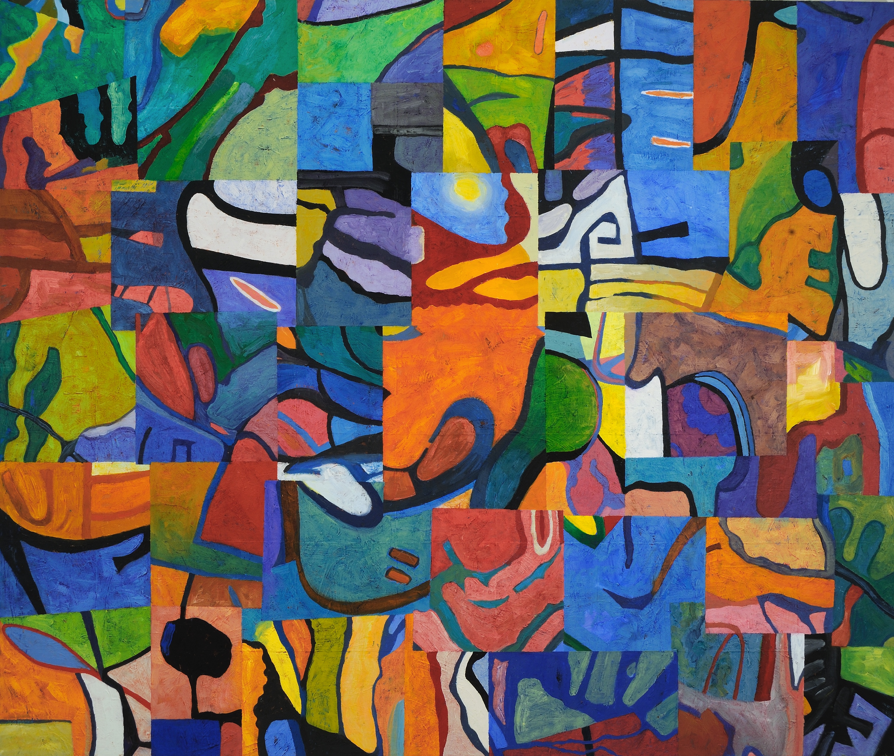Bright shapes in a quilt-like composition