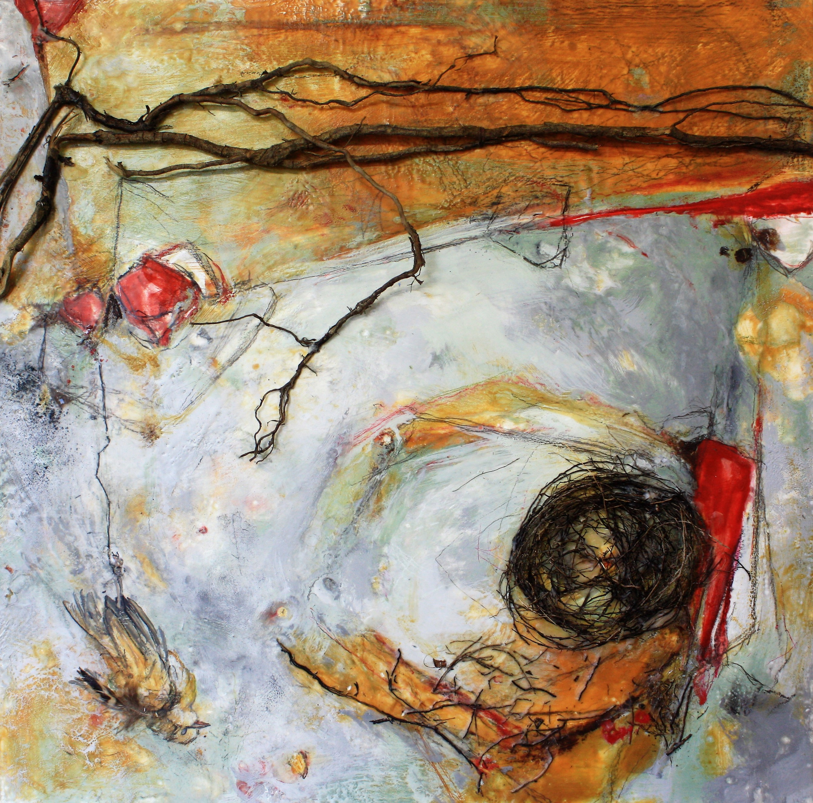 Painting, Encaustic, Abstract, Landscape