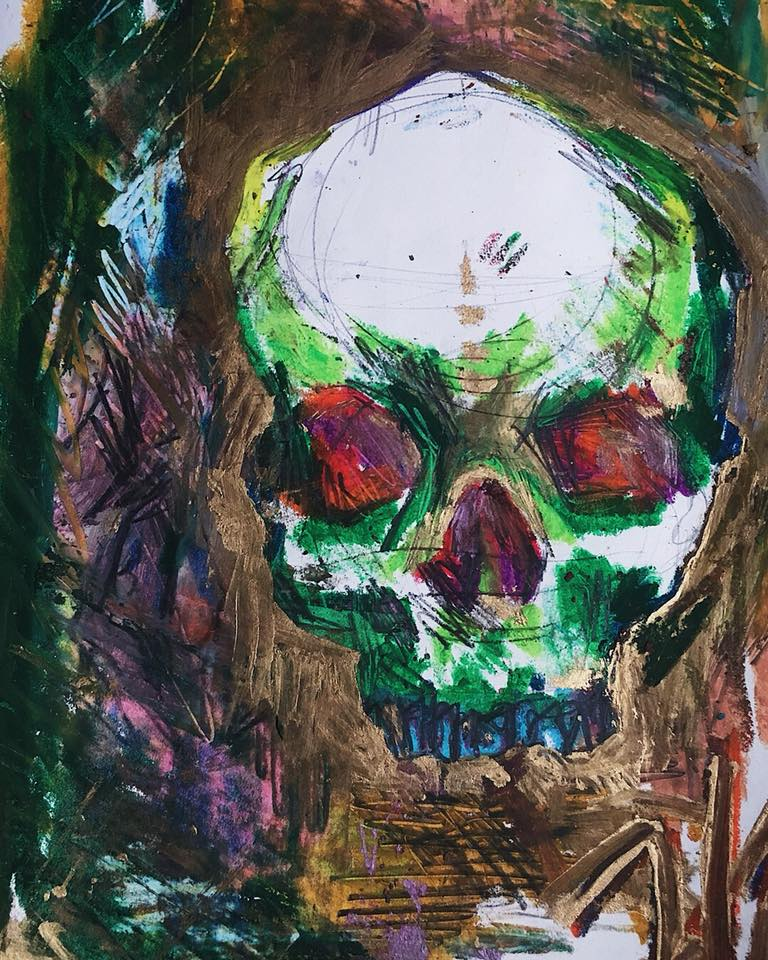 Mixed Media Abstracted Skull Study on Paper