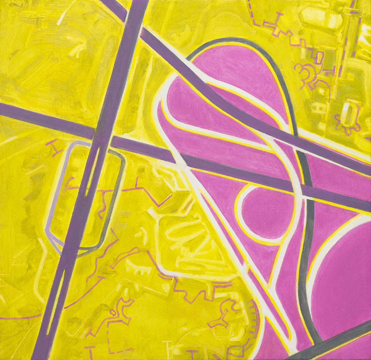 yellow and pink abstract painting symbolizing roadways