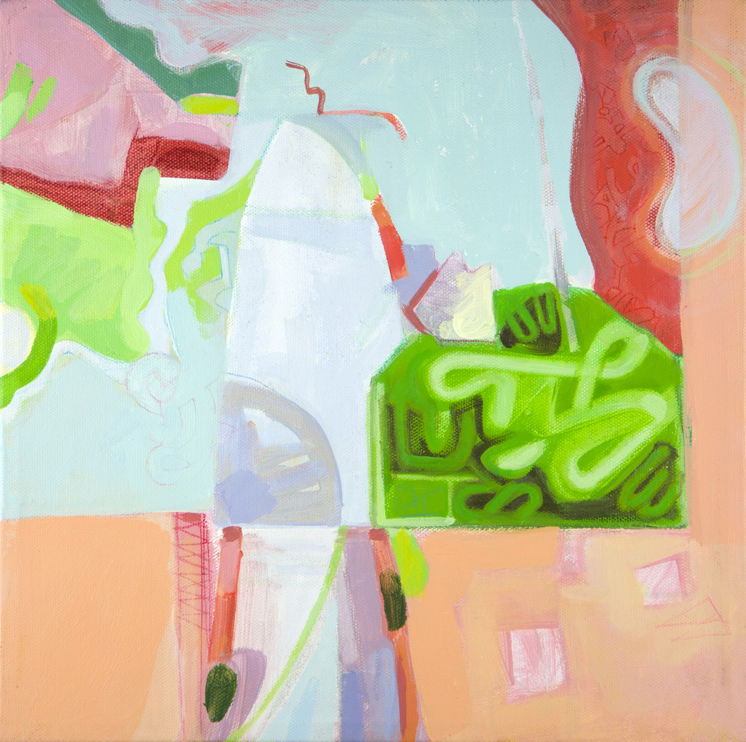 painting of abstract subject, light blues, pinks, oranges, greens