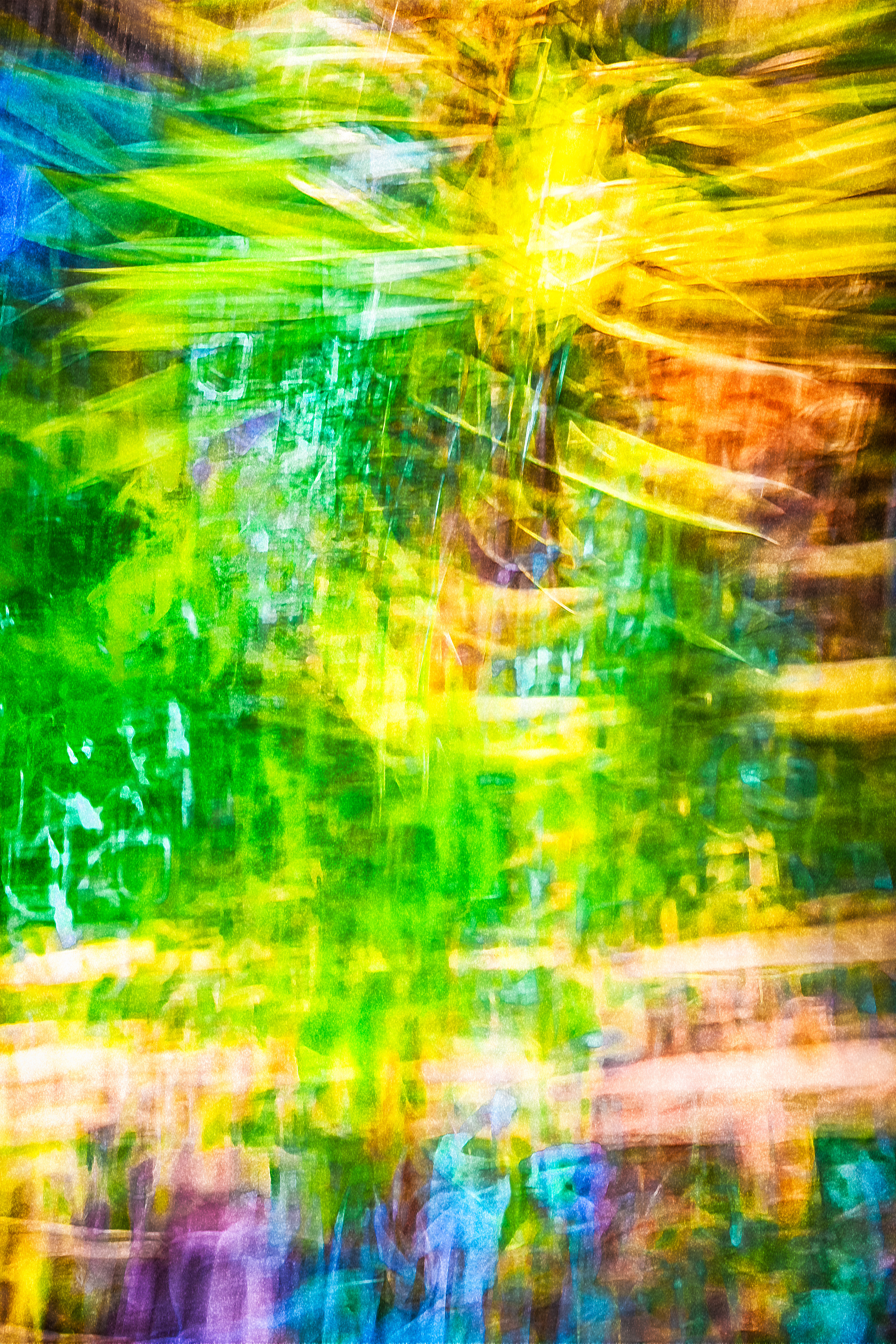 In this photograph, camera movement fuses all the colors and textures of the real world and creates an abstract composition.