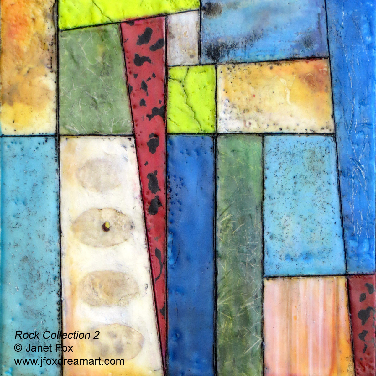 "Image of an encaustic painting by Janet Fox titled ""Rock Collection 2"""