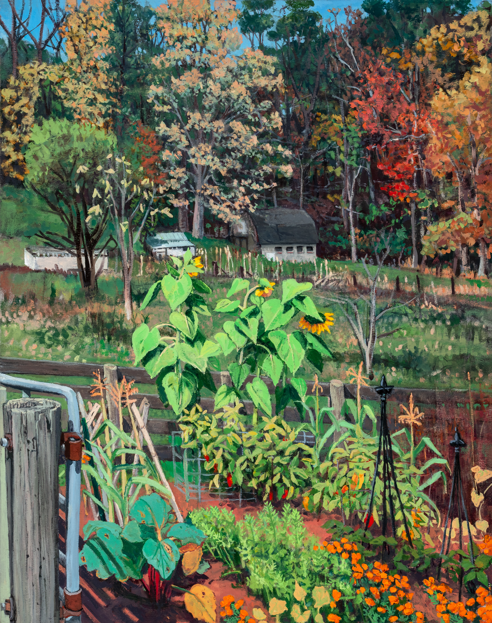 Oil on Canvas Painting of the artist's garden with Fall trees and sunflowers