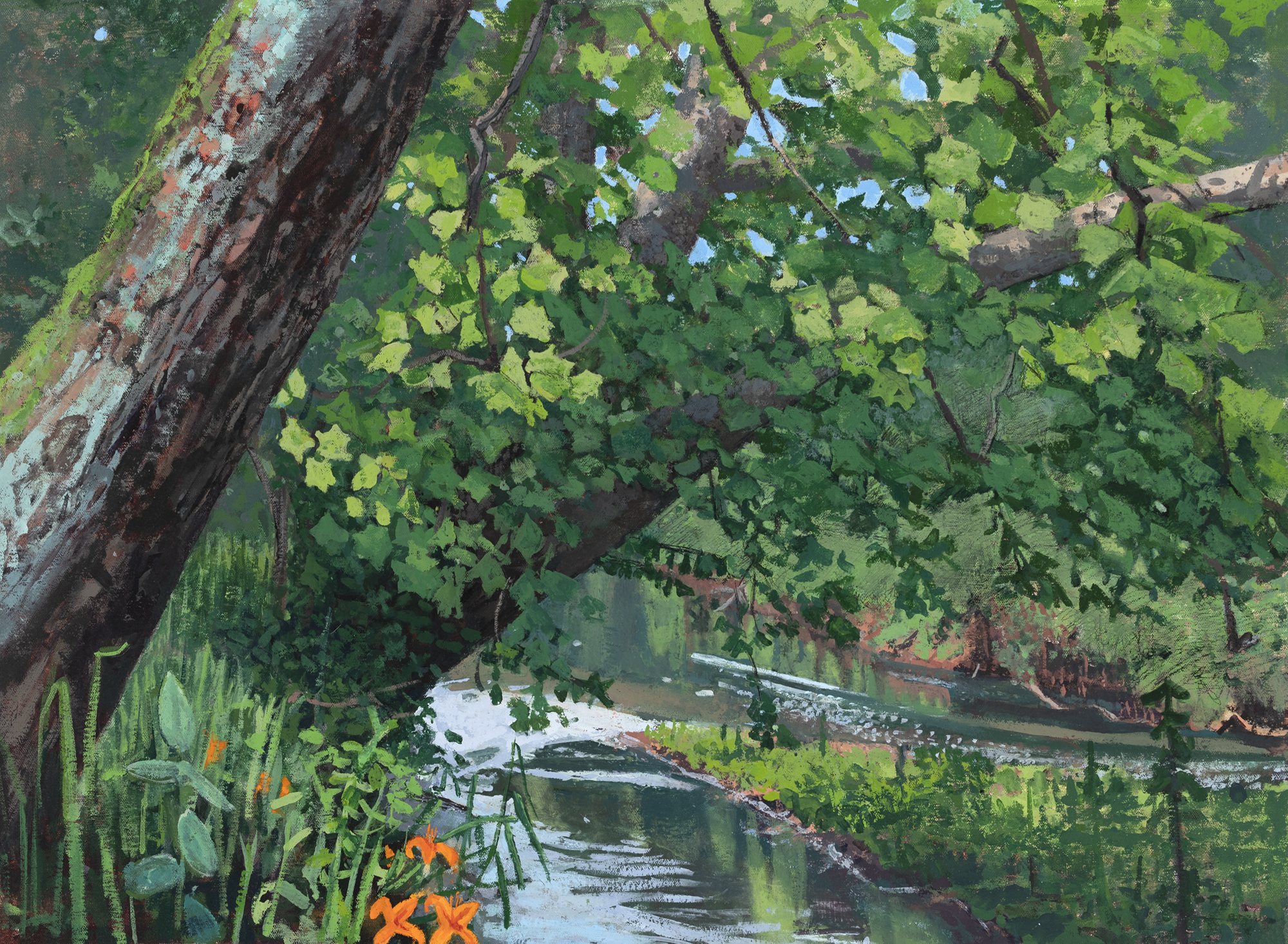 Oil on Canvas Painting of The Gunpowder River with sycamore trees