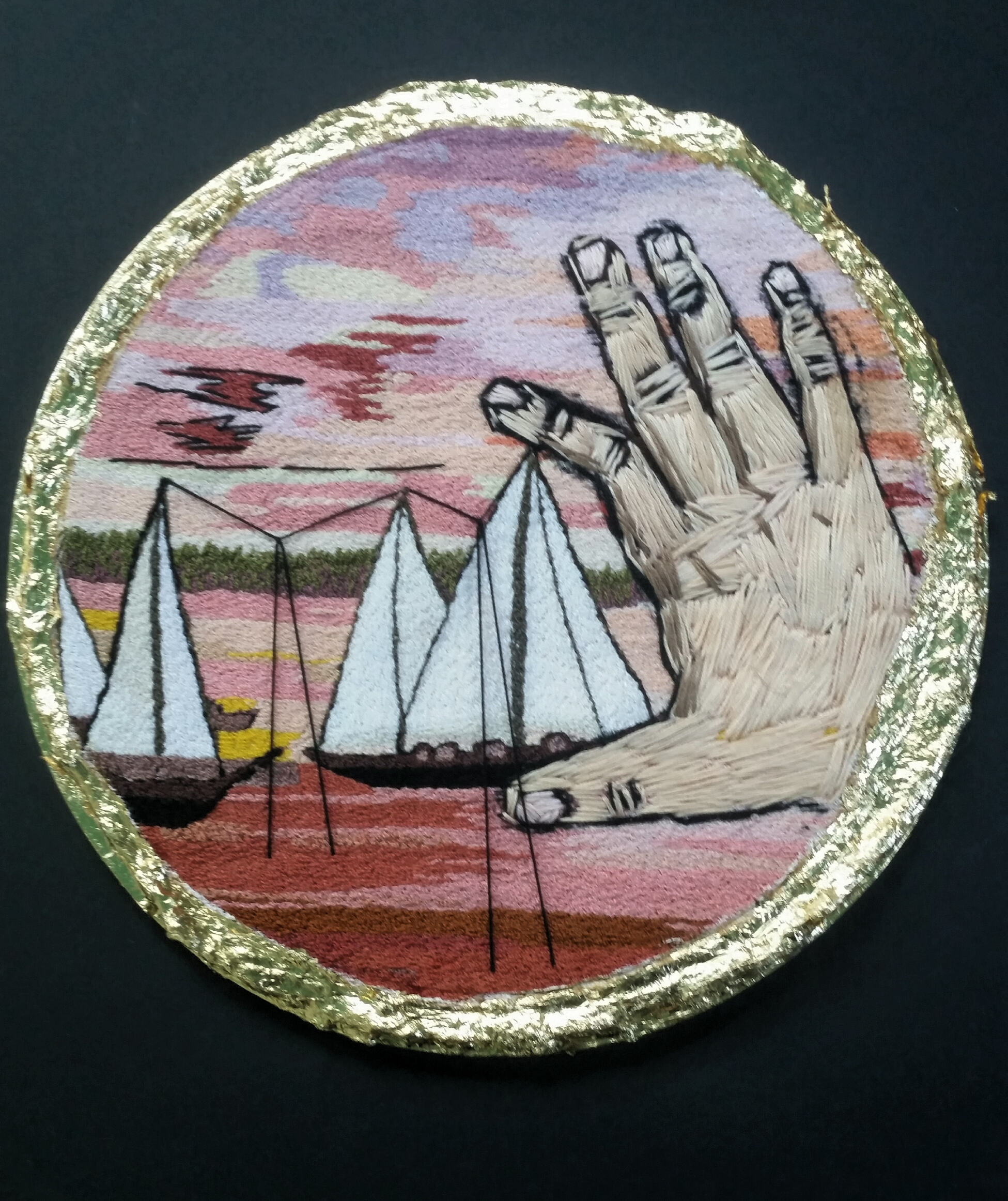 Embroidered image on found embroidery