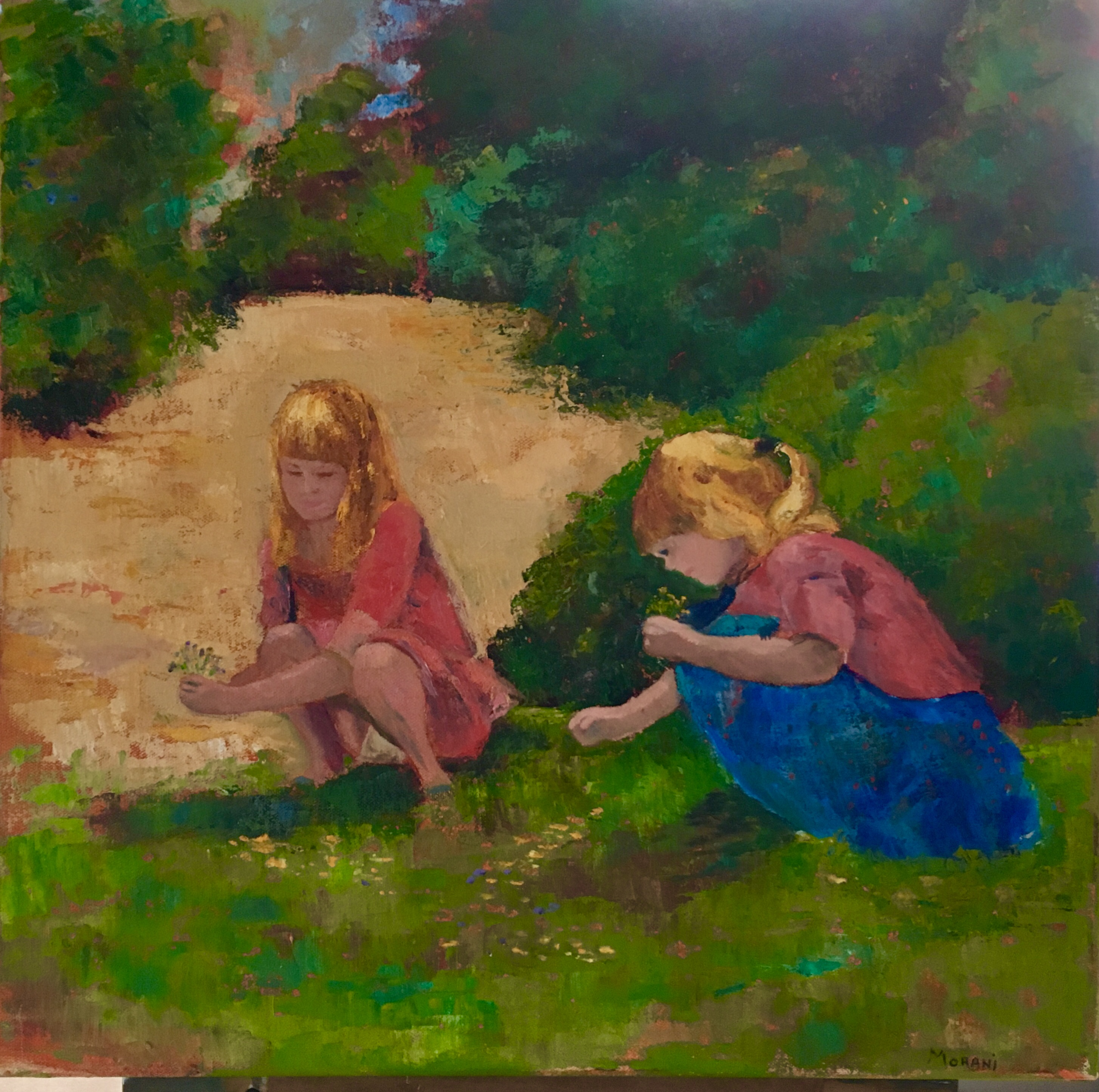 Painting of children picking flowers