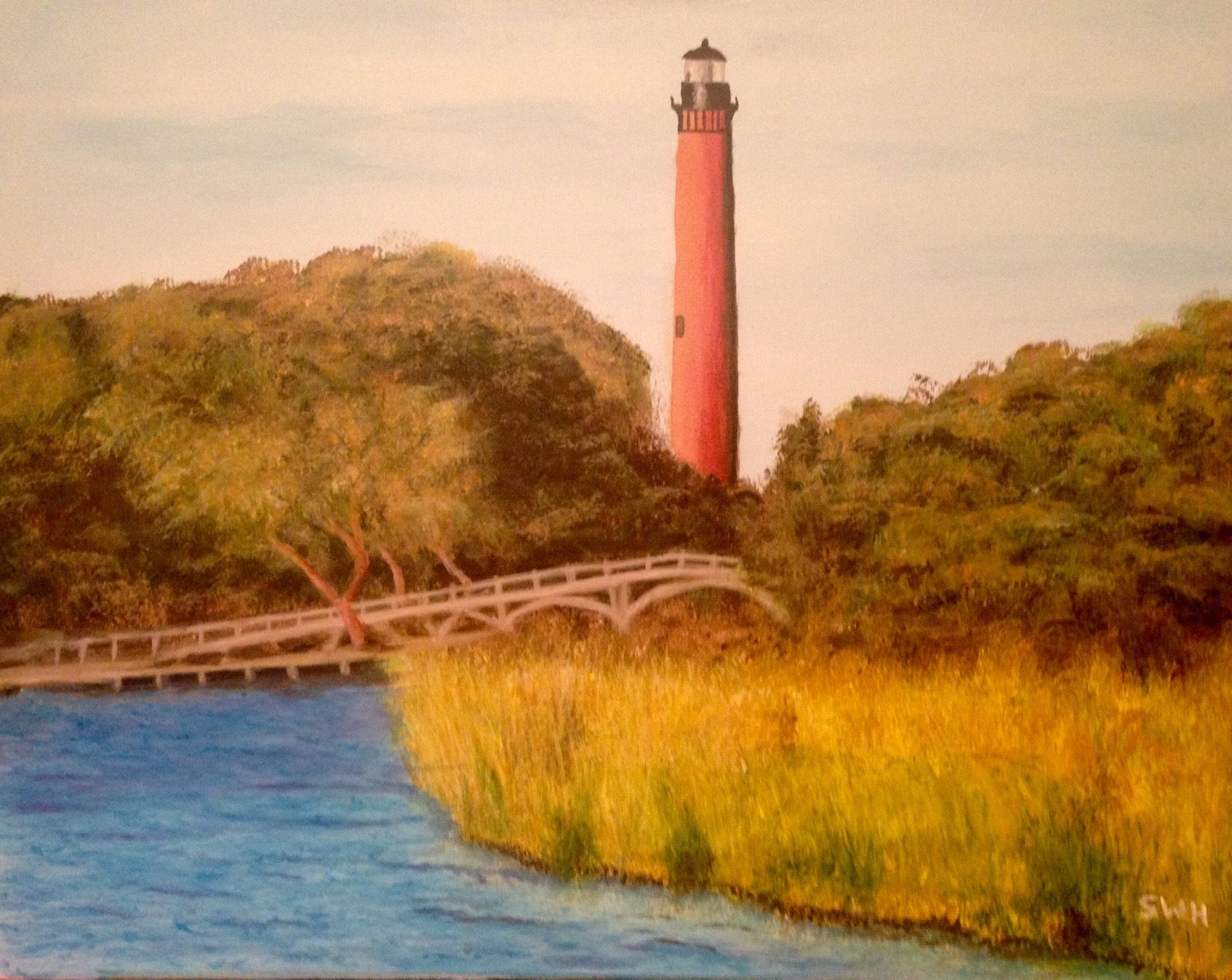Acrylic painting of the Currituck Lighthouse