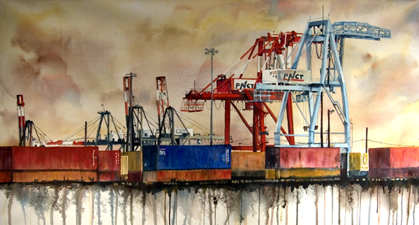 "Freight Yard is a 25"" X 45"" painting using fluid acrylic on varnished gallery wrapped paper"