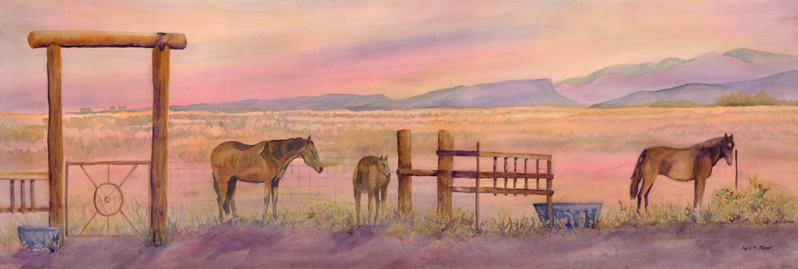 Serenity, New Mexico, Sunset, watercolor, horses in the landscape