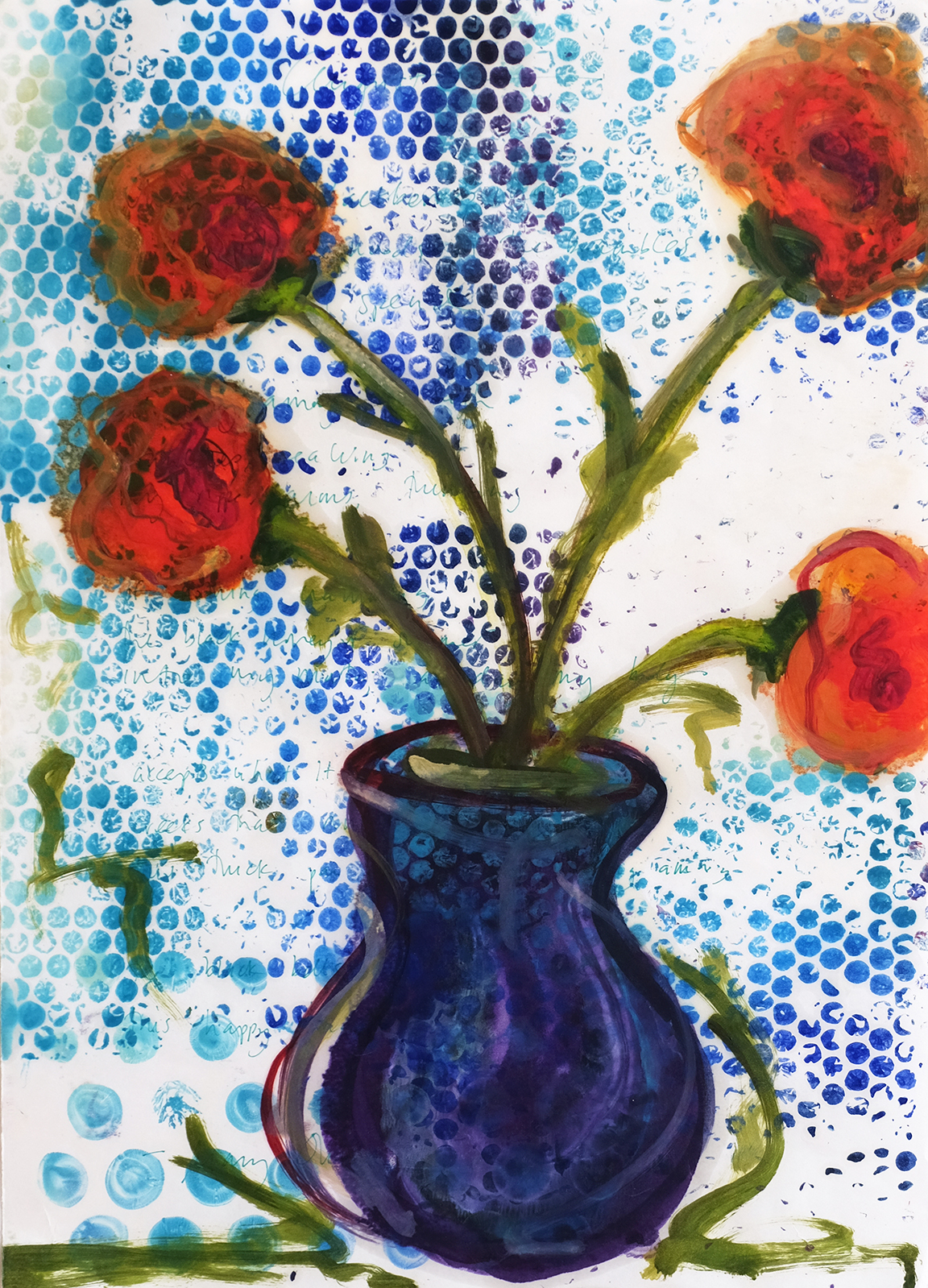 "Red/orange flowers growing out of a small purple vase; surrounded by blue ""bubbles"" and Mary Oliver's poem ""August."""