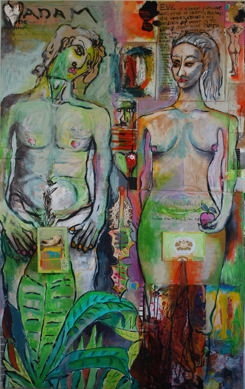 Adam and Eve: Collage mixed media  work  on plywood