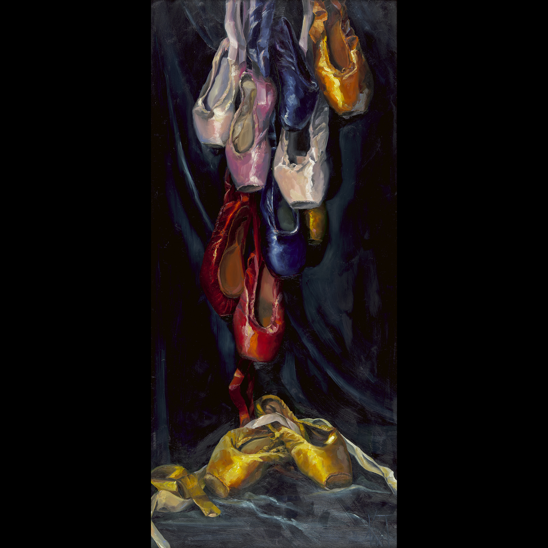 oil painting, ballet shoes, dance, still life, theater, colorful, classic, realism