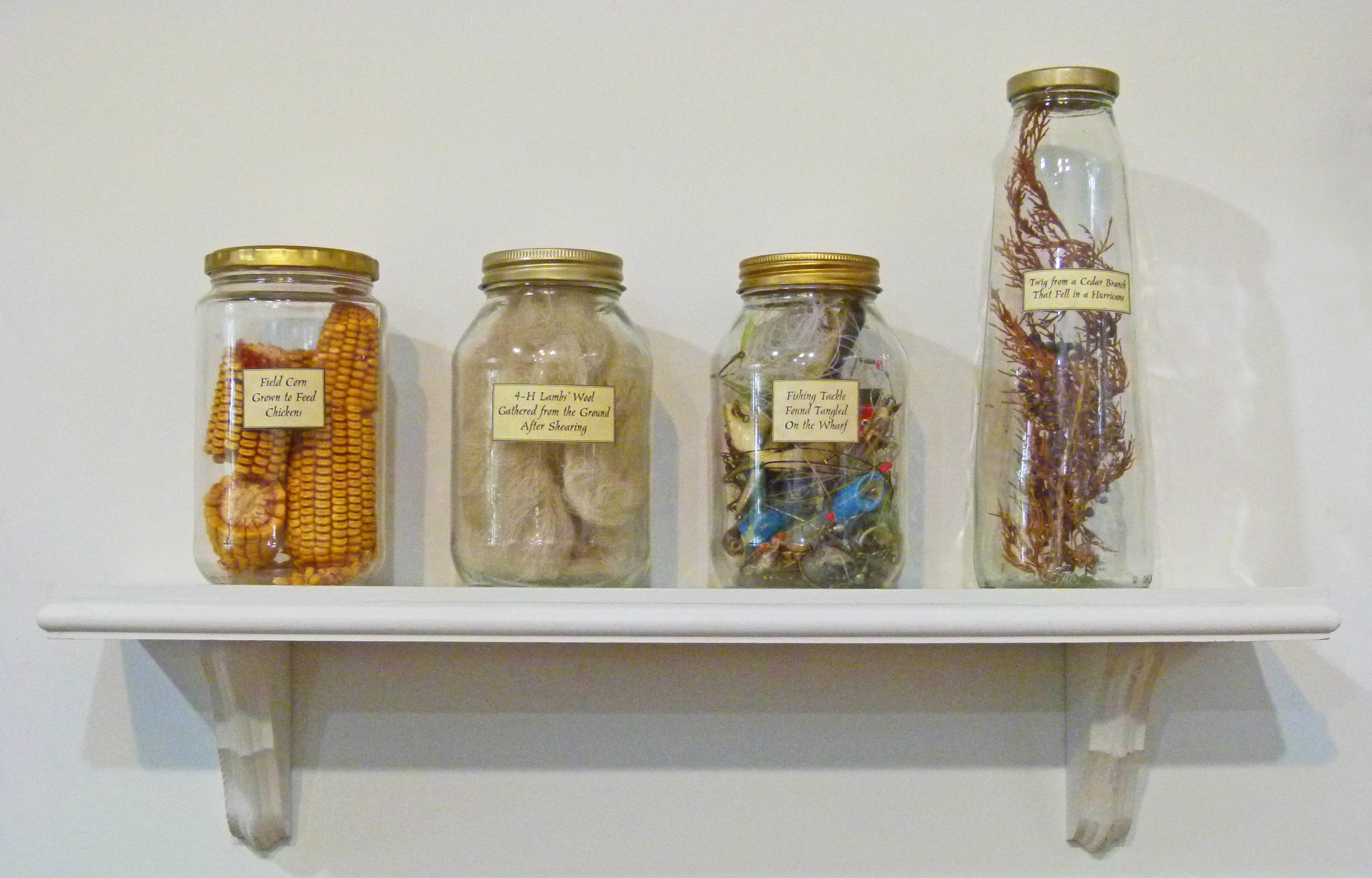 Ongoing work featuring found materials preserved in labeled jars