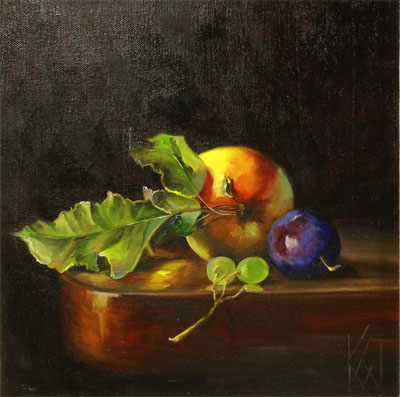 Classic Realism/ still life/ fruit on a table edge/ dramatic lighting