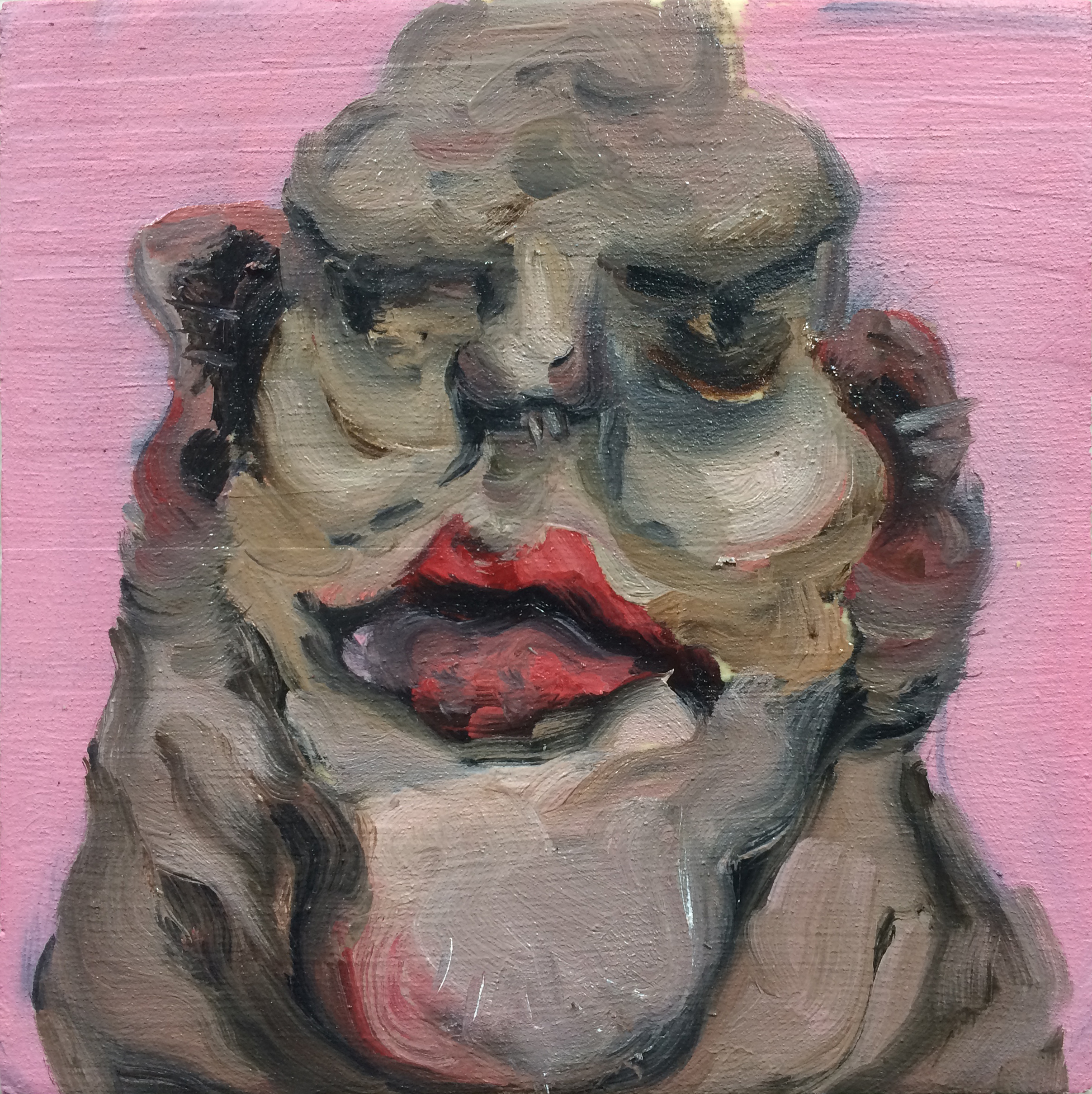 An oil painting of a portrait of a closeup grotesque head with a brown complexion & red lips on a bubblegum-pink background.