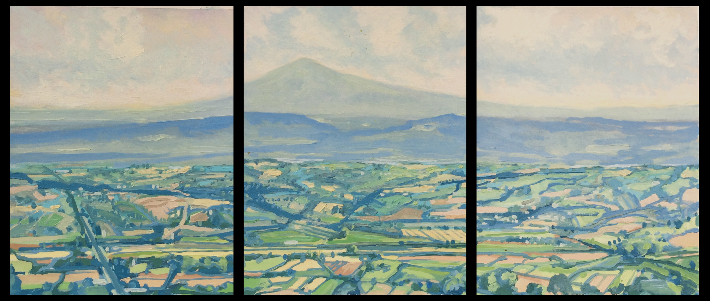 "Paul Reuther; Amiata triptych; 3 panels, each 14"" x 11"" ; 2017;  oil on archival paper on panel"