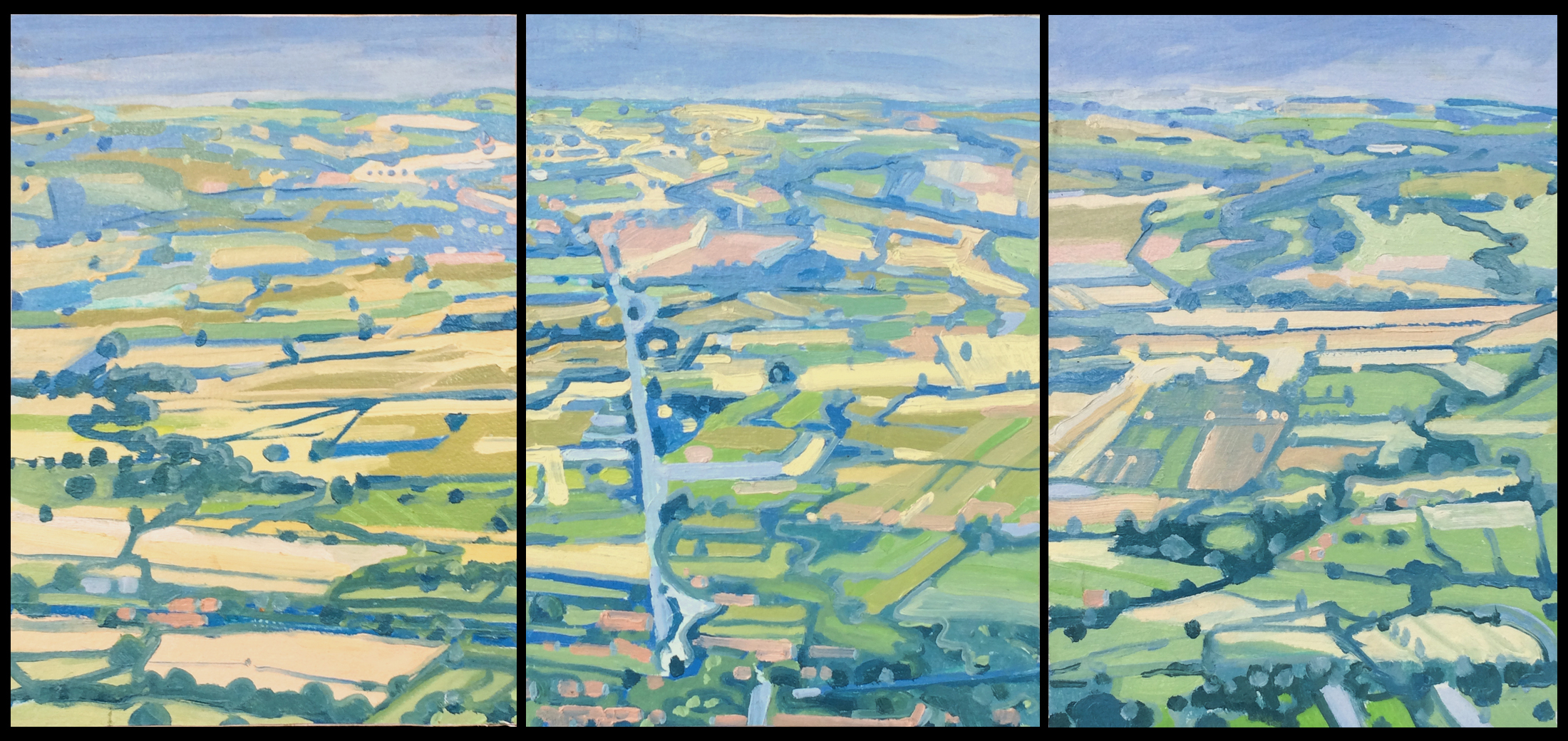 Paul Reuther; Valdichiana Triptych, A view from Cortona, Italy;  2017; Dimensions,   3 panels, each 14""
