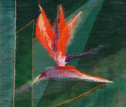 Handwoven dyed linen created thread at a time with linen and cotton, of Bird of Paradise Flower
