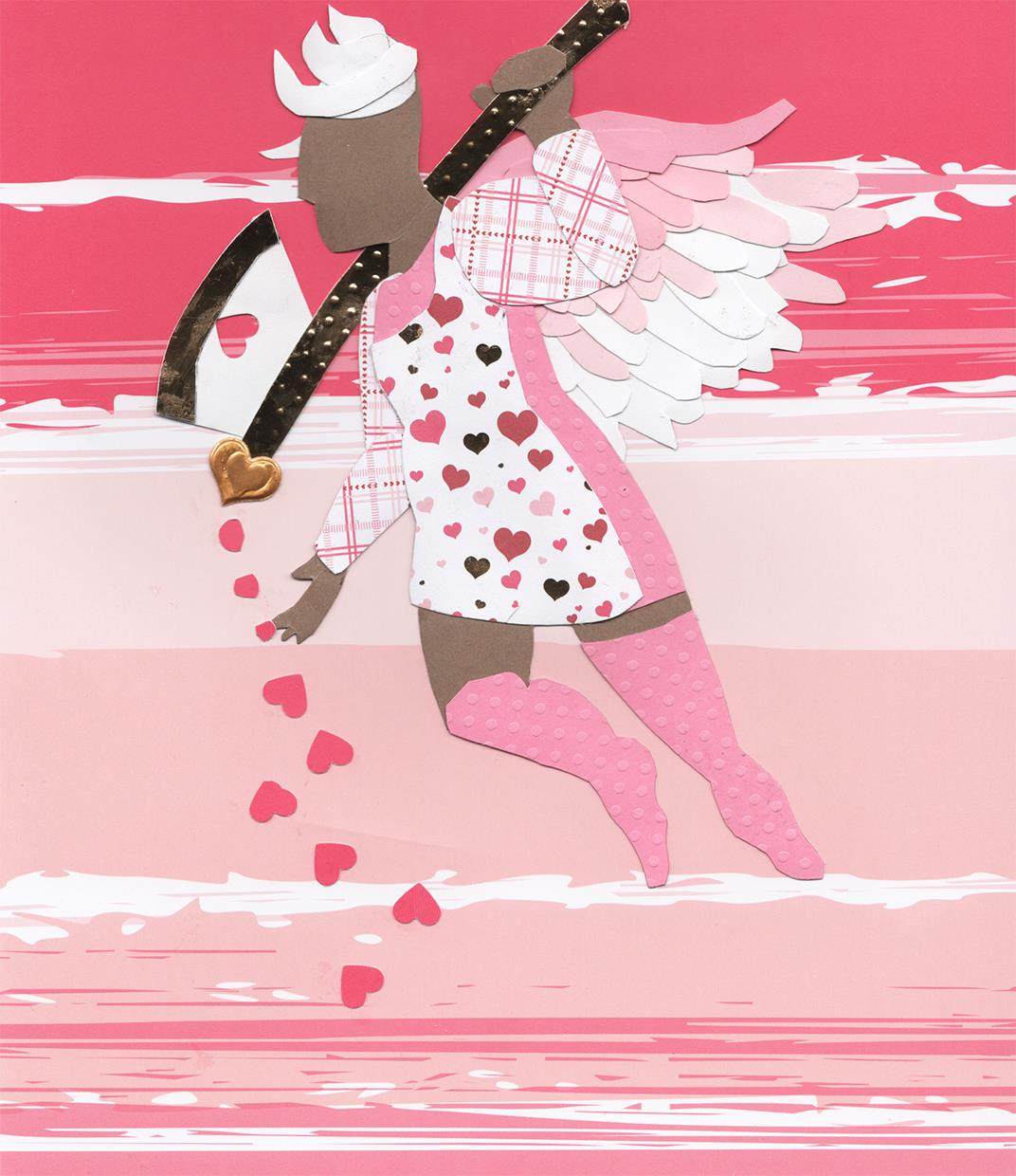 The Cupid was first sketched out in a sketchpad, then traced using tracing paper. Various card stock papers were gathered, and b