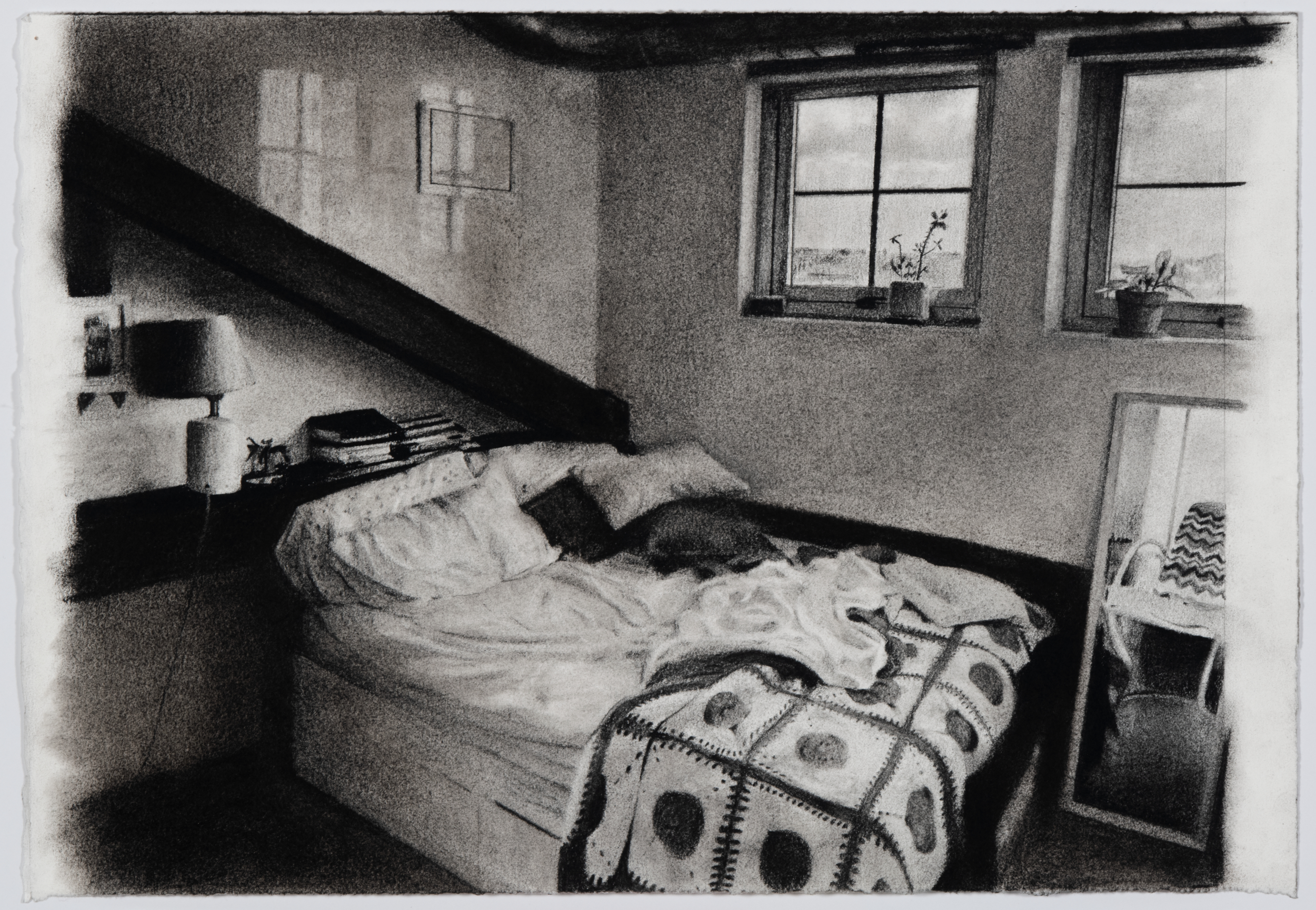 Charcoal drawing of bedroom