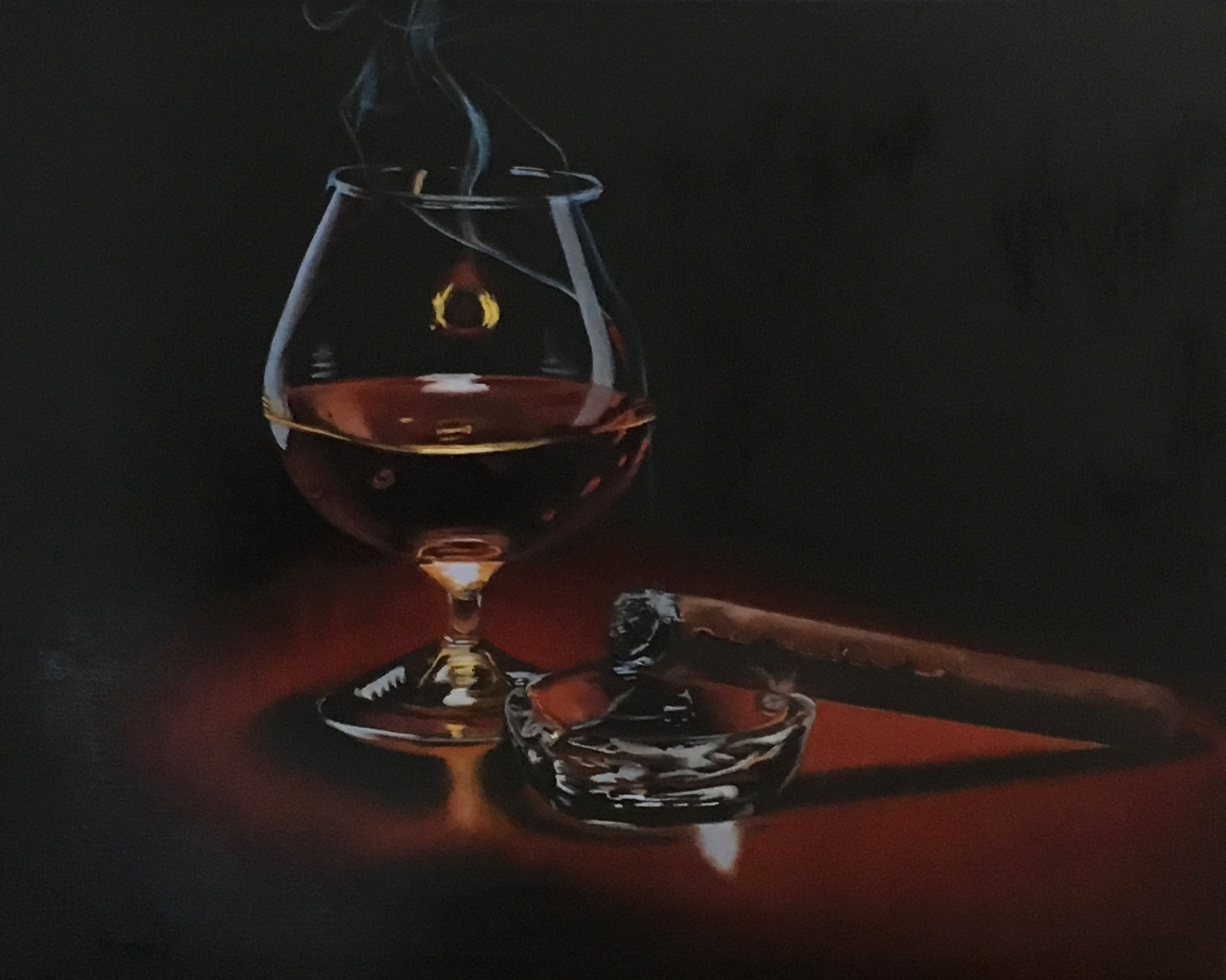 Cigar, ashtray and Brandy
