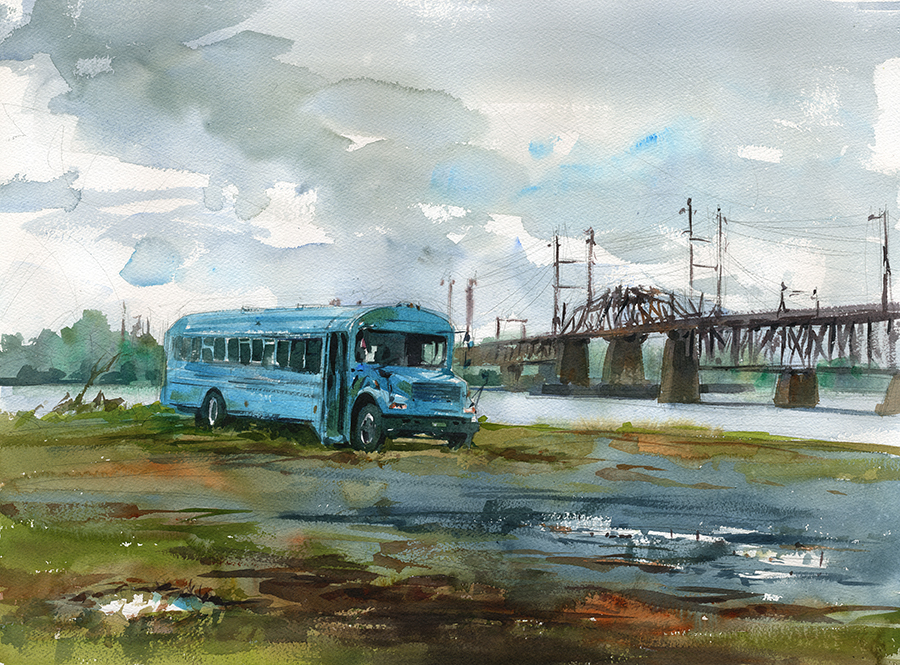Watercolor painting of a bus and bridge, landscape